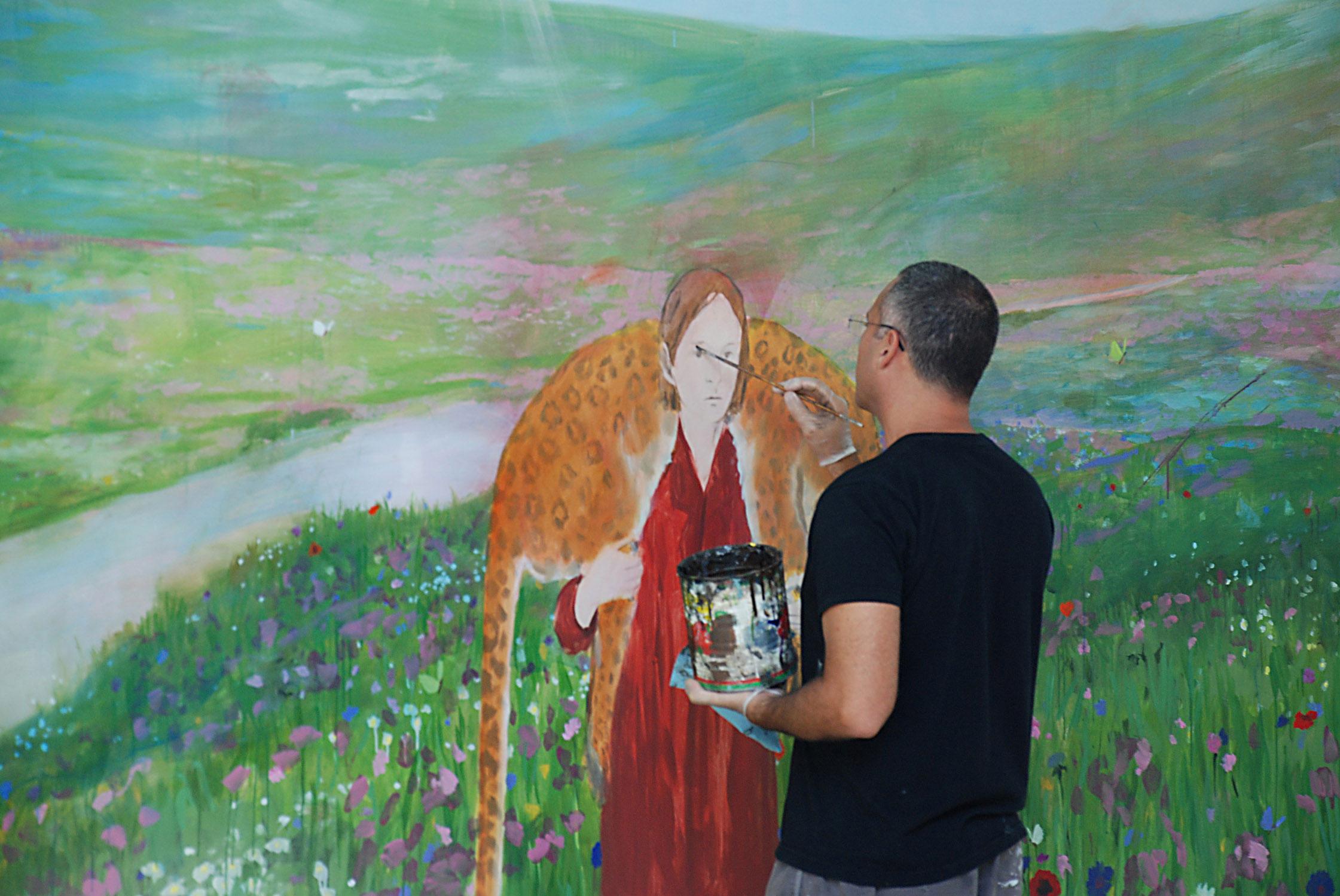 """Celaya working on """"Primavera."""" Courtesy of University of Nebraska."""