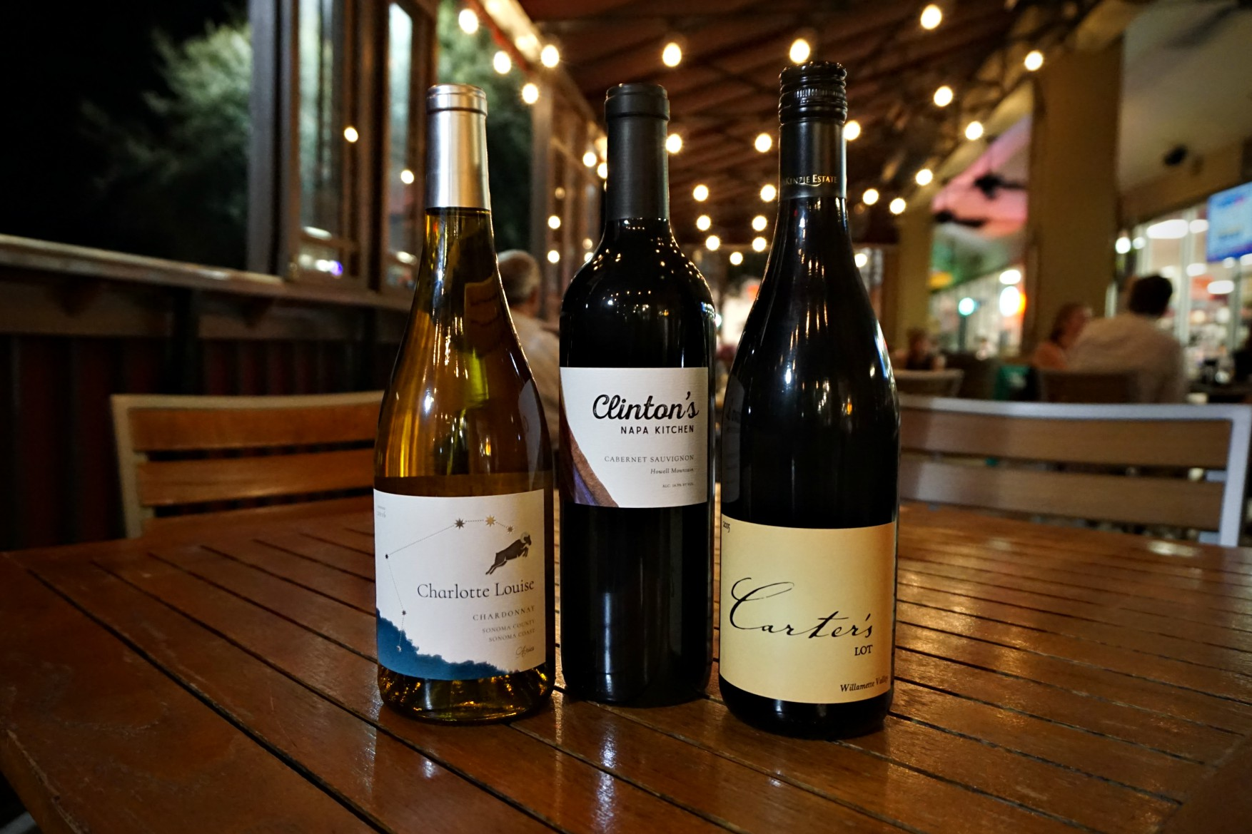 Our own private label wines, named for members of Chan's beloved family: Charlotte Louise Chardonnay (left), Clinton's Napa Kitchen Cabernet Sauvignon (middle), Carter's Lot Pinot Noir (right).