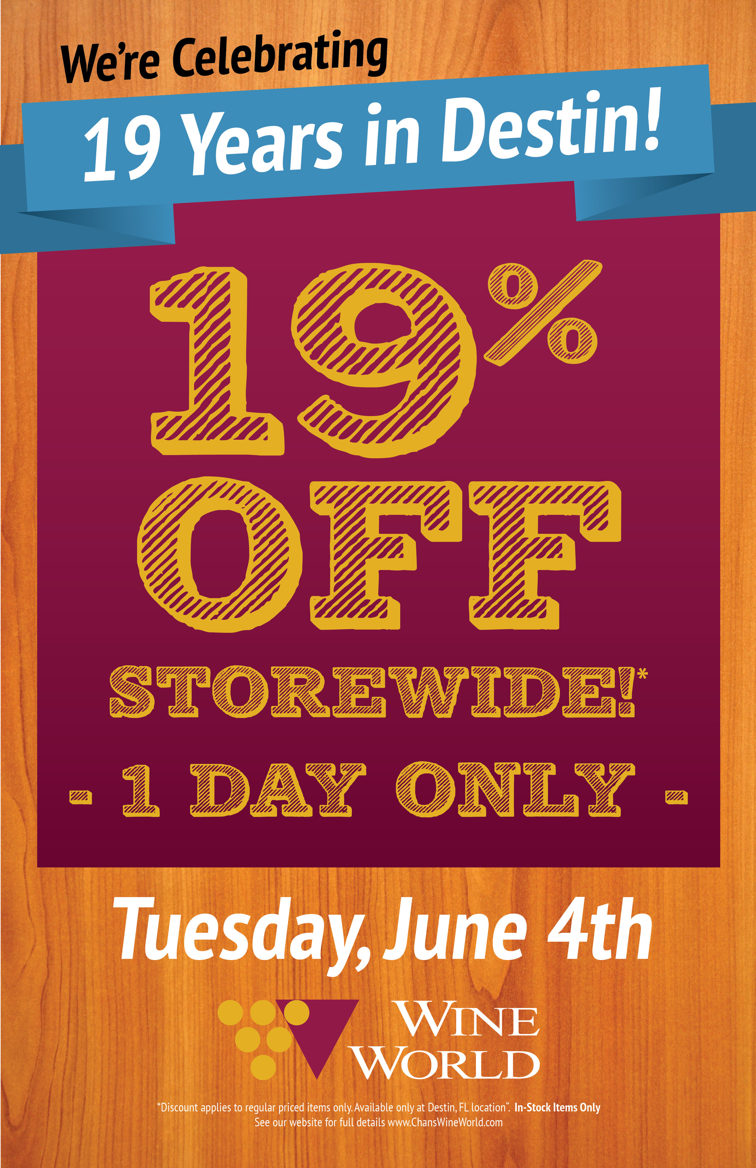 **VALID IN DESTIN LOCATION ONLY. 06/04/2019. In-stock, regularly priced items only. No rain checks. Cannot be combined with other offers or discounts. Glass of wine as part of a buy-one-get-one offer. Must present proof of retail purchase on 06/04/19 to redeem. Some exclusions may apply.