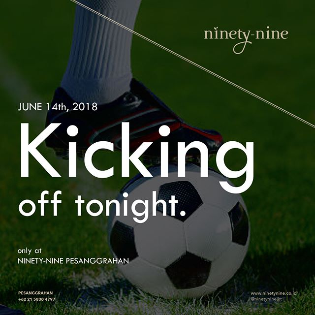 Tonight's the night! Don't miss the most exhilarating football championship this year, grab a seat and root for your special team at Ninety-Nine Pesanggrahan. The beer is upgradable for a free flow and the game will be streamed live to our big screens for maximum experience. Reserve a seat at +6221 5830 4797.