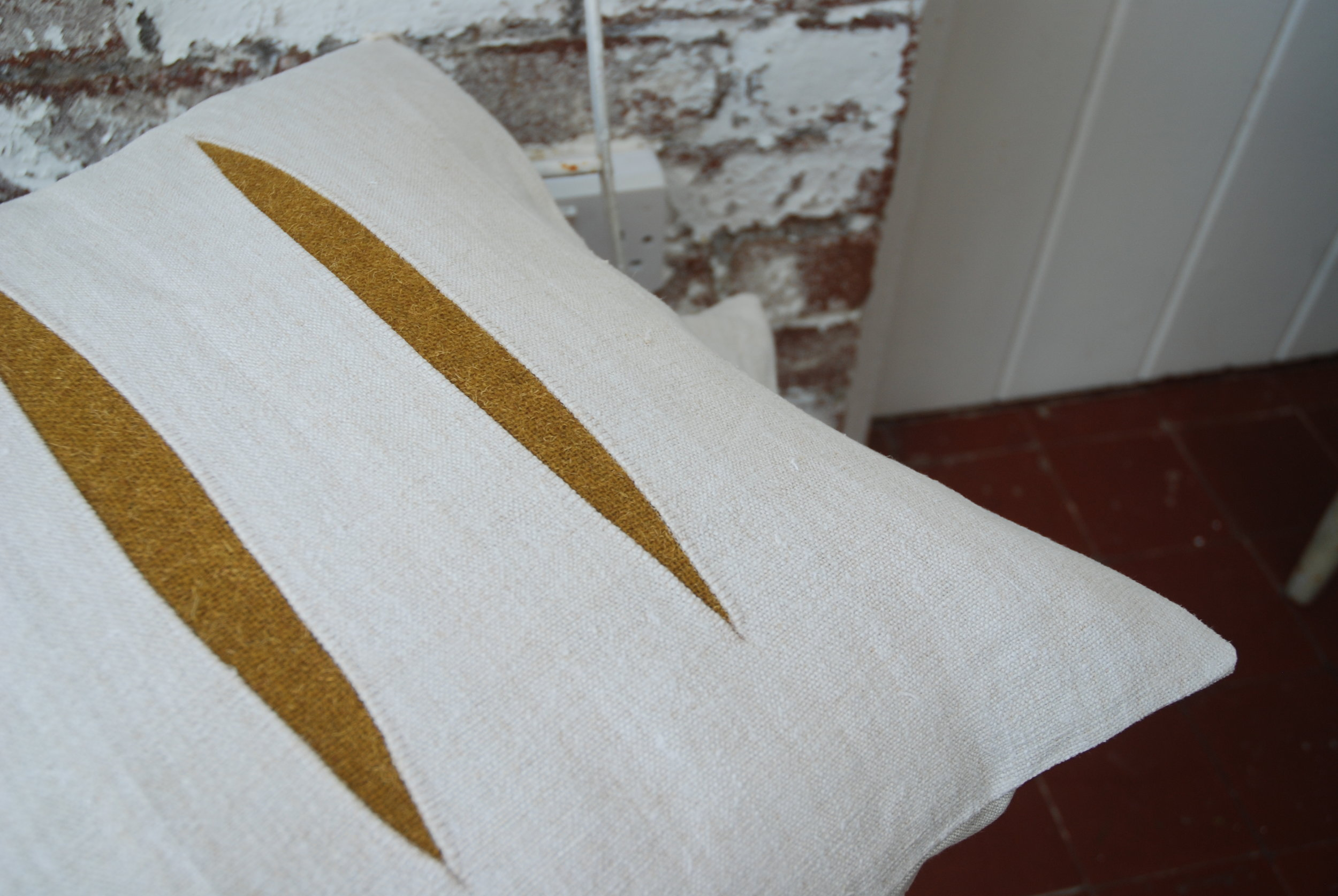 Linen and wool cushion detail
