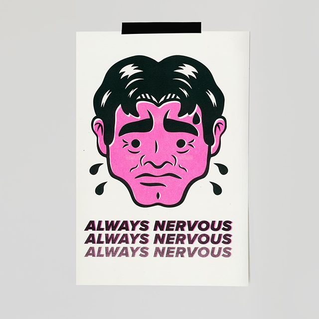 """""""Always Nervous"""" Risograph is now up on my website to purchase! Click link in profile. 👍👍"""