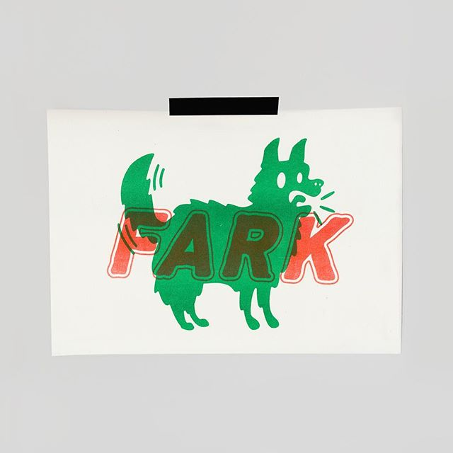 """""""FARK"""" Risograph available to purchase on my website! Click link in profile 🐕🐕"""