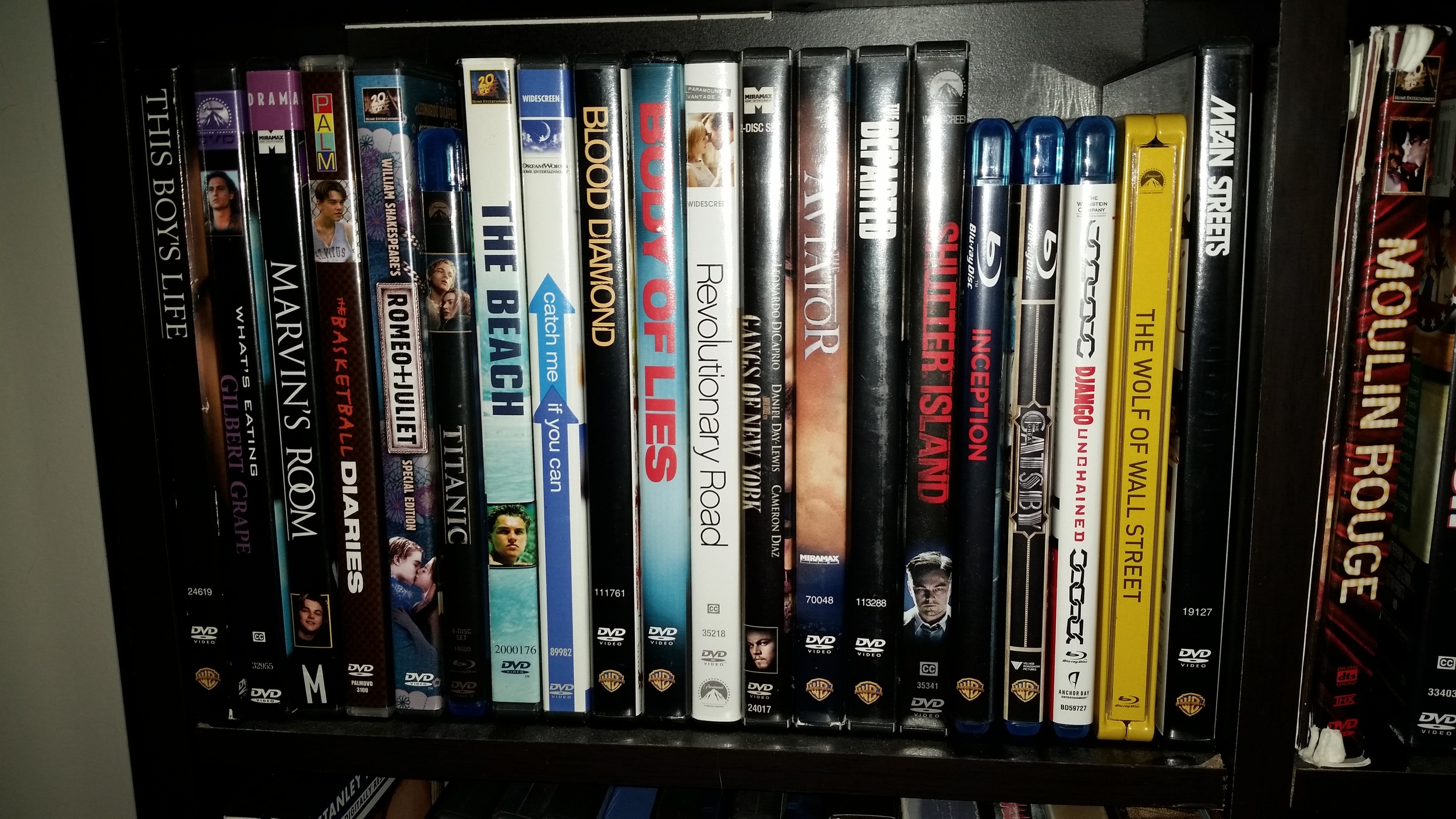 My pseudo-shrine, This Boy's Life to  Wolf of Wall Street . The Revenant  will fill the shelf!