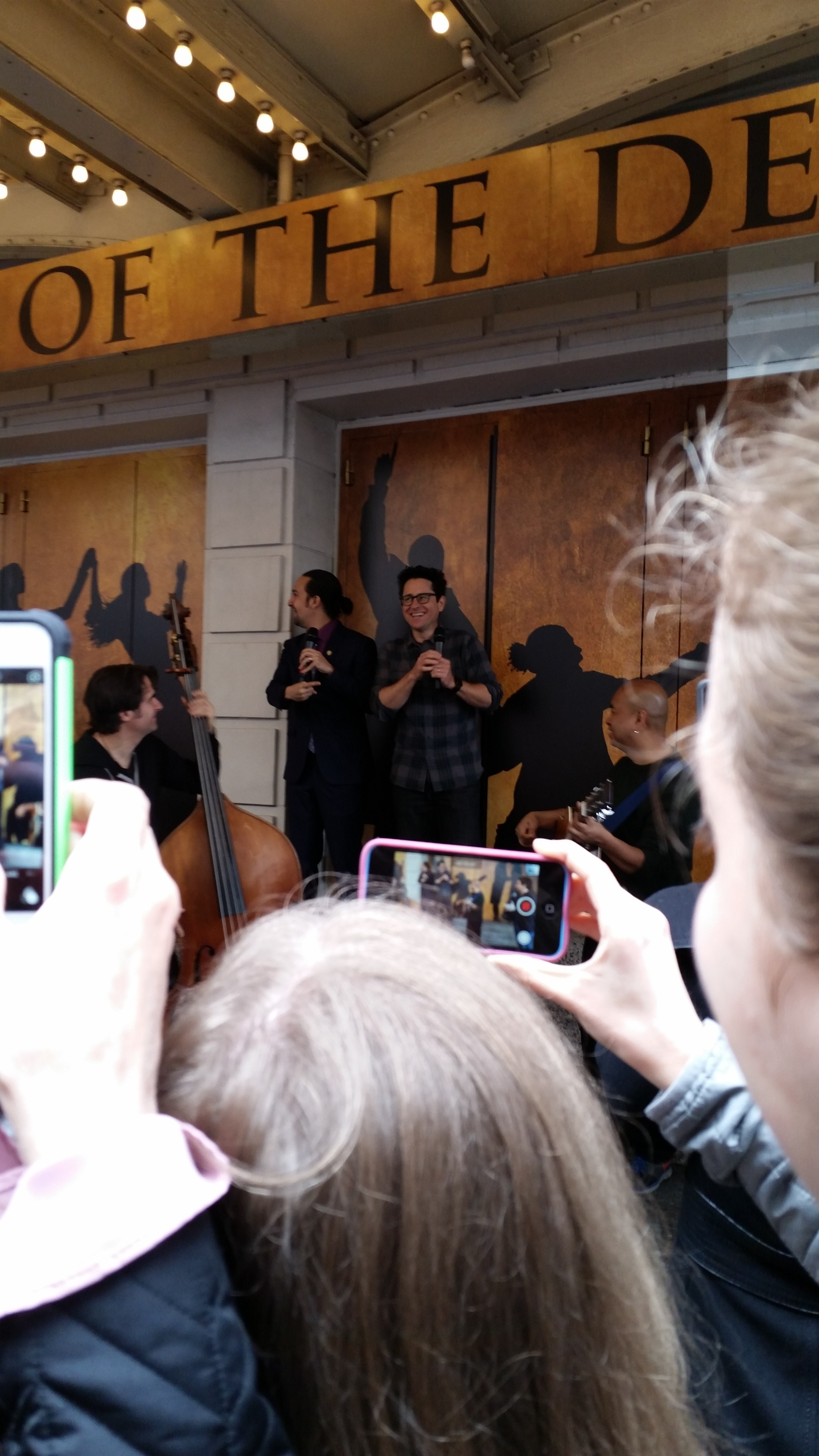I took this picture! Of Lin-Manual Miranda, JJ Abrams, Alex Lacamoire, and some of the Ham band!