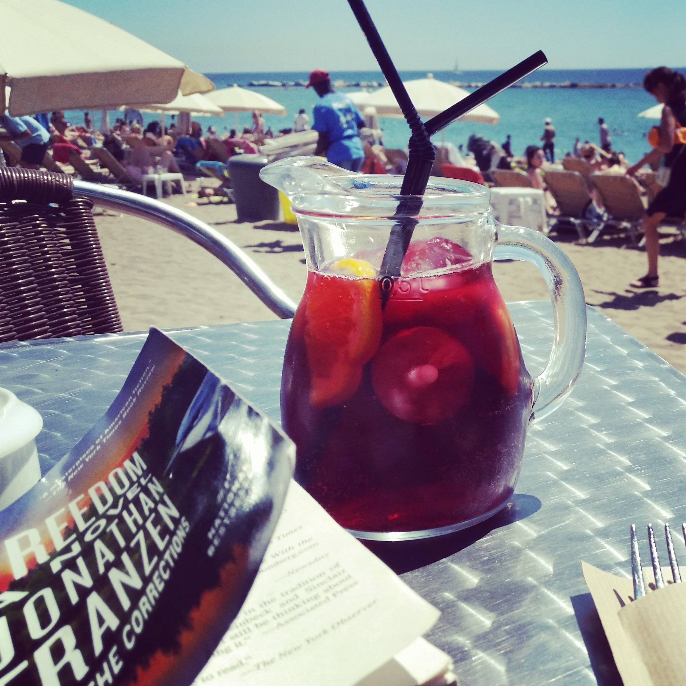 I was in Spain all last week. Here is a sangria, which I miss already, on the beach in Barcelona.