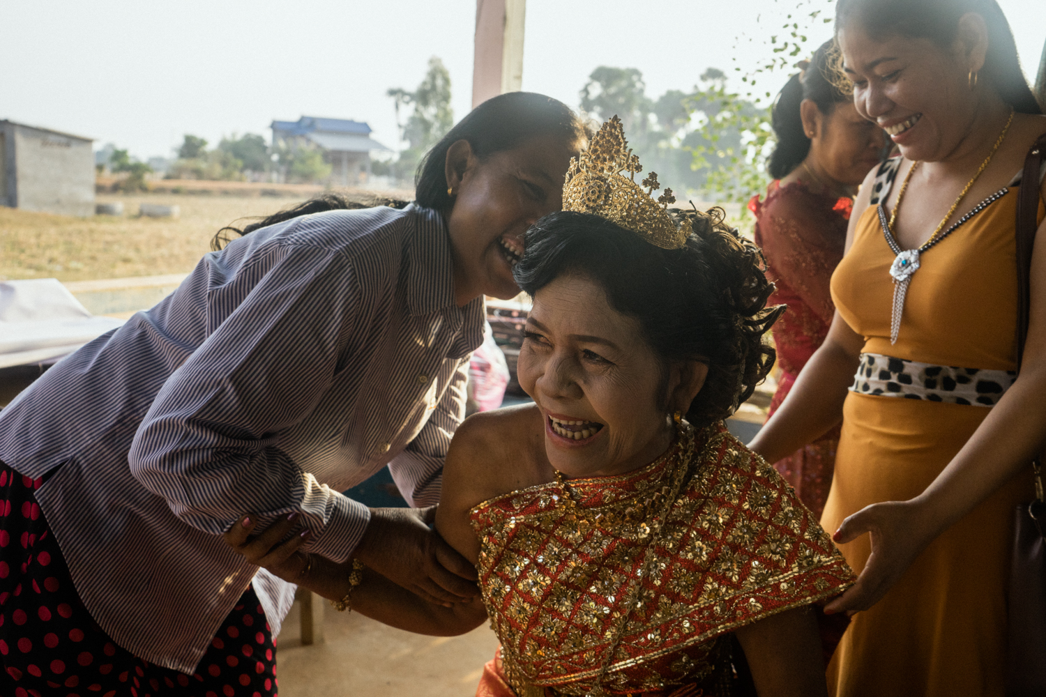 Nou Sout (center) is seen before her wedding during a ceremony held for victims of forced marriages by the Khmer Rouge. Several couples have decided to have a formal wedding ceremony almost four decades after their forced marriage, a crime which is today being tried as a crime against humanity by a war crimes tribunal.