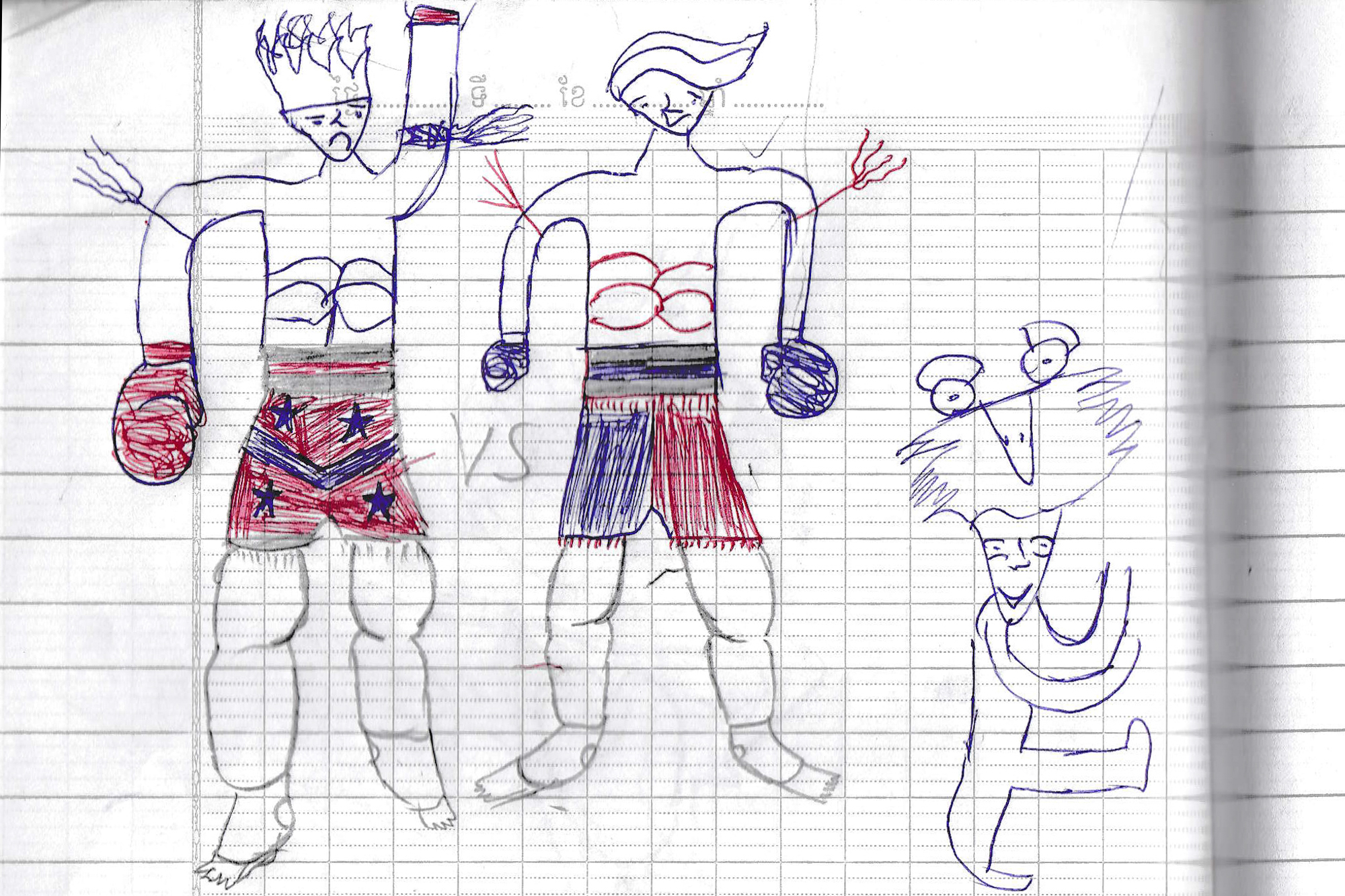 Drawings by Khim Dimey, a Cambodian child boxer. He draws strong characters with boxing gloves.