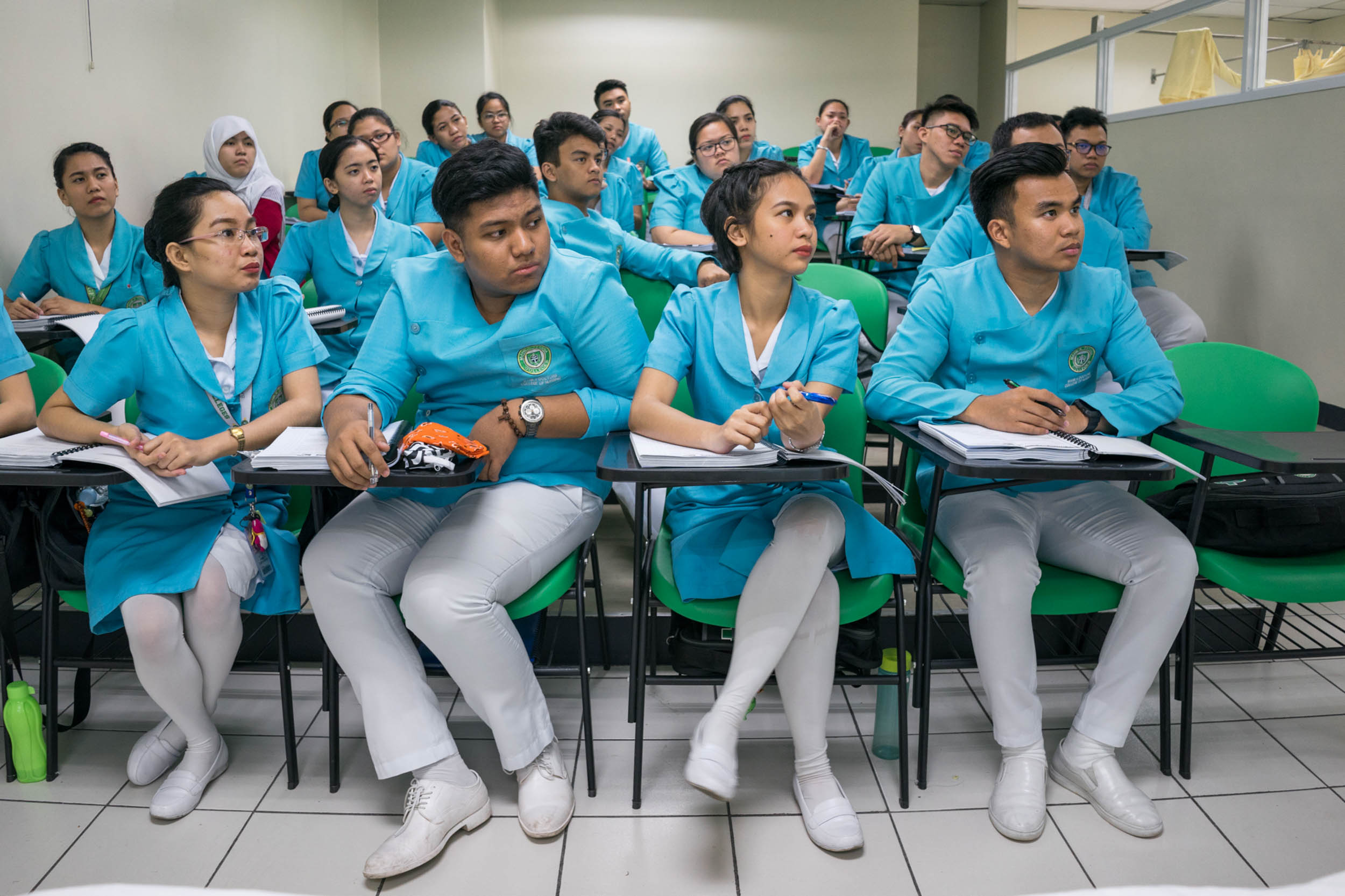 For decades the Philippine government has facilitated migration abroad as a way to develop the country. A sprawling trade school industry helps give Filipinos needed skills. 