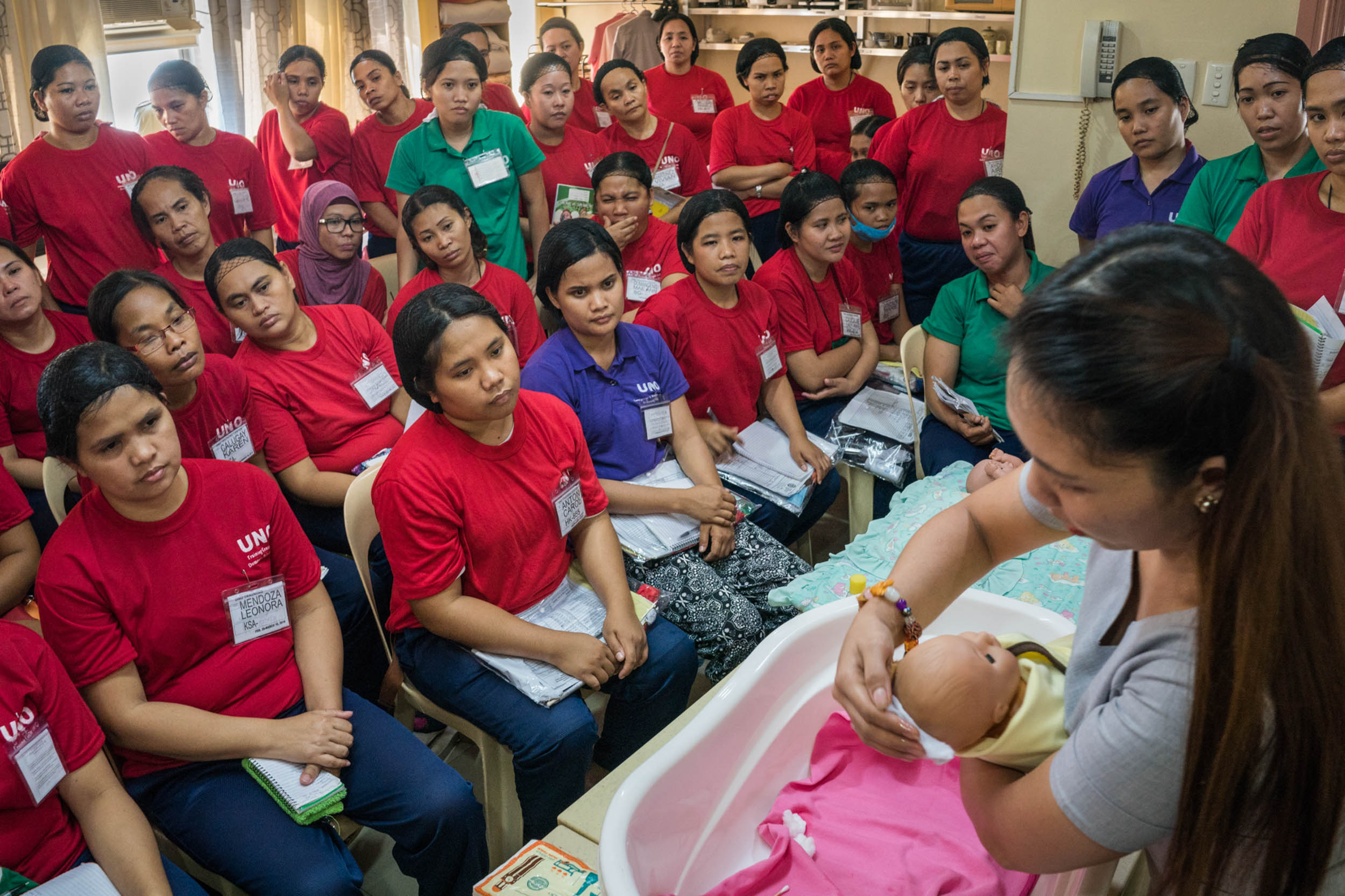 For decades the Philippine government has facilitated migration abroad as a way to develop the country. A sprawling trade school industry helps give Filipinos needed skills. Nannies are trained to dote on babies without making mothers jealous.