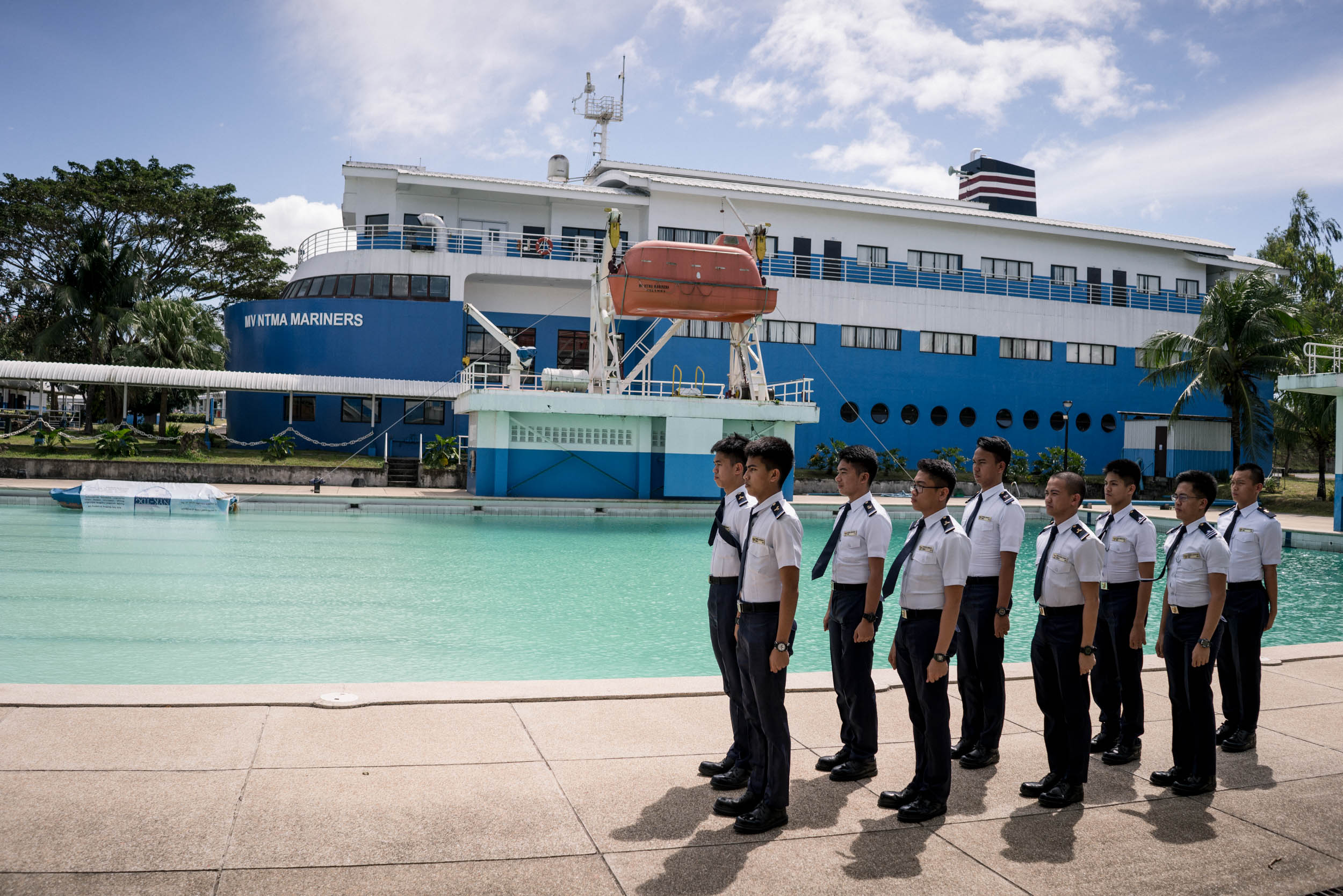 Aspiring seafarers are seen in a maritime academy south of Manila, Philippines. After their education, the school helps place the students, majority of who will work for the school's partner Japanese shipping lines. They can opt to pay for their education (which costs higher than what the average Filipino can afford) later on when they work for the partner shipping line.