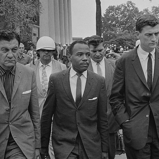 1962 - James Meredith attempts to enroll at Ole Miss, the states flagship university and an all-white institution. Meredith is turned away, riots ensue, and the national guard is called in to prevent additional violence.