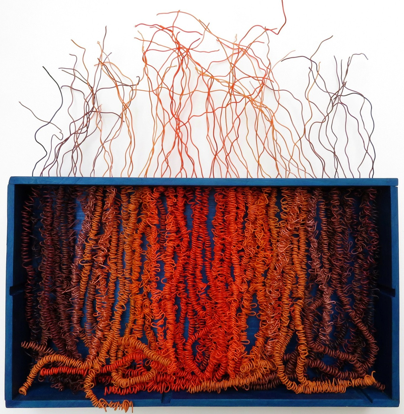 HAIRY TIMES: MAKES THE ROOTS CURL  2018 ~ 14 x 15 x 2 inches ~ Available  Ethernet cable wires, reclaimed wood, acrylic paint