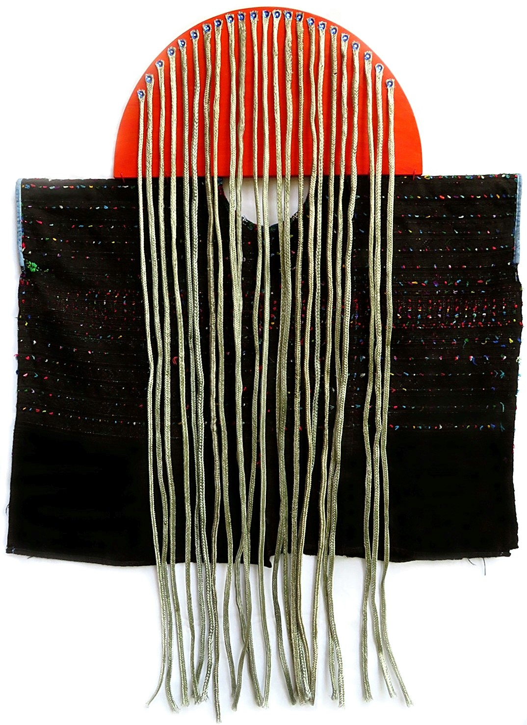 HAIRY TIMES: AT LOOSE ENDS #2  2019 ~ 30 x 40 x 2 inches ~ Available  Metal braided cable sleeving, sequins, nails, used Guatemalan huipil, reclaimed wood, acrylic paint