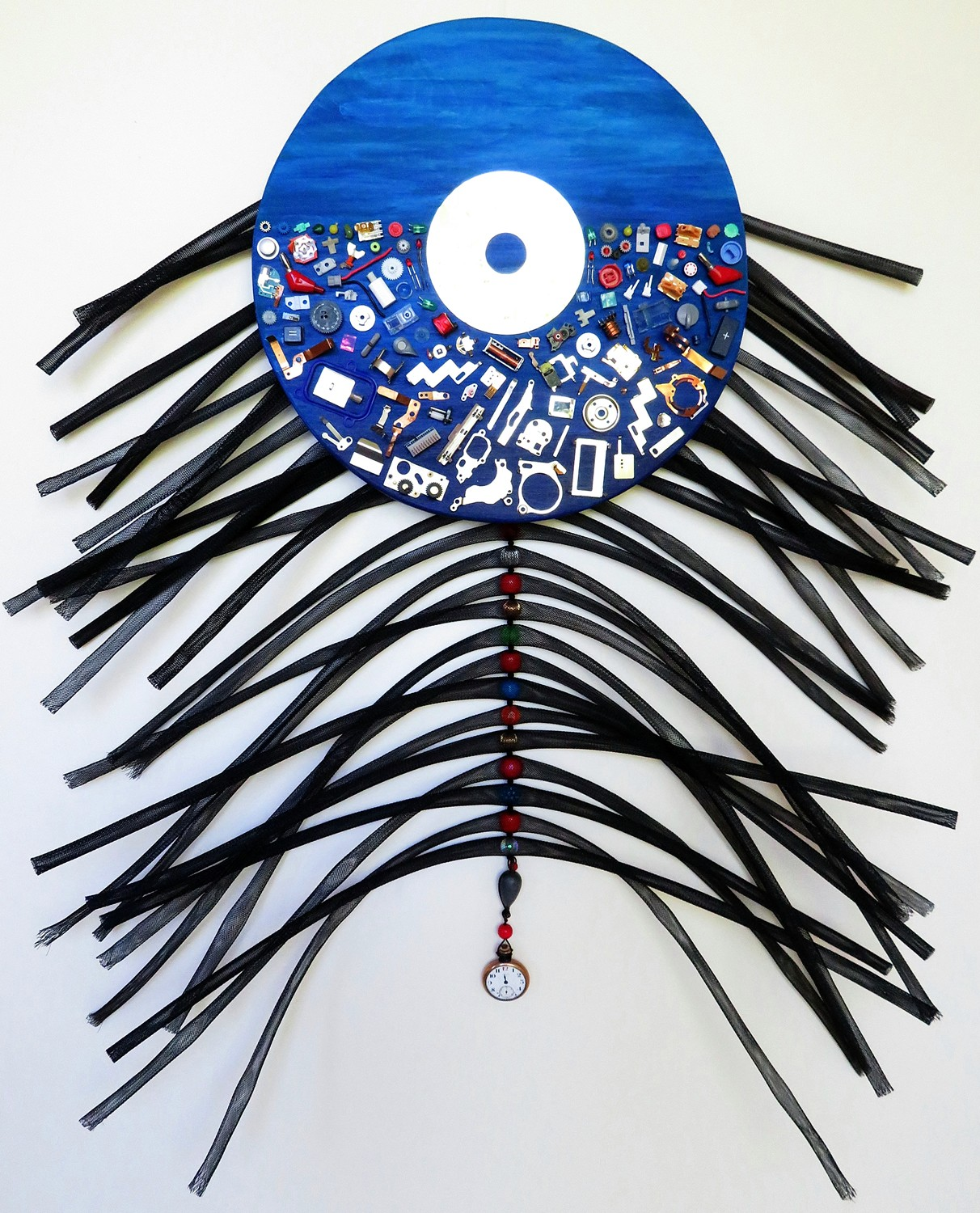 FLOTSAM 'N JETSAM  2019 ~ 24 x 29 x 5 inches ~ Available  Metal & plastic bits from dismantled electronics, hard-drive disc, beads, plastic braided cable sleeving, watch, lead sinker, cable wire, sequins, recycled wood, acrylic paint