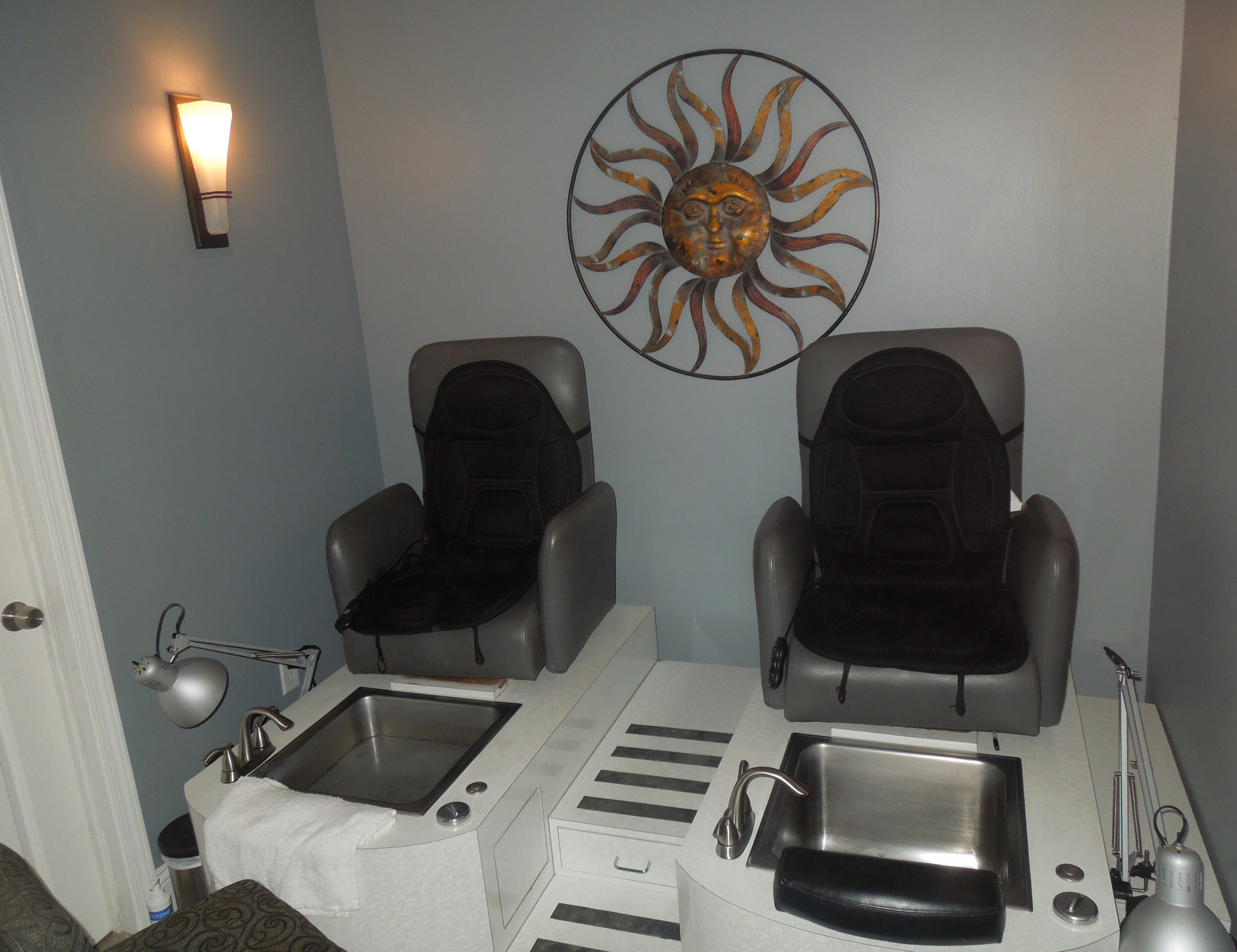 Our closed room pedicure station is here so you can enjoy some much needed quiet.