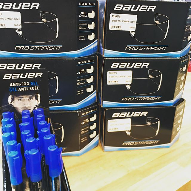 Fresh arrivals today  Bauer pro cut half shield Anti fog gel #bauer #bauerhockey #thehockeyshopny