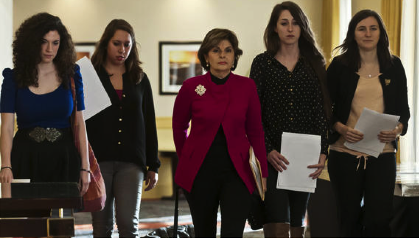 Pictured on the right in Hartford with Gloria Allred, center, and fellow co-complaintants