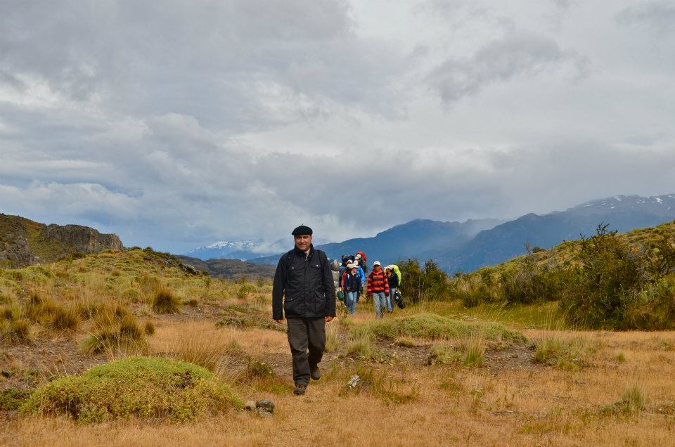The mayor of the nearby town of Cochrane, with a group on the annual community hike, the Ruta de Huemul