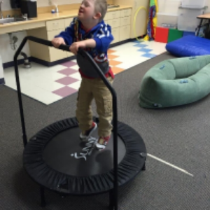The trampoline is used for calming from a temper tantrum or getting rid of excess energy.  Music therapy uses it for developing rhythm.