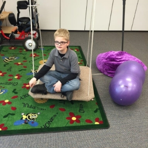 The platform swing is mainly for calming.  It can be taken off and the taco swing put on which envelopes the student as they swing.