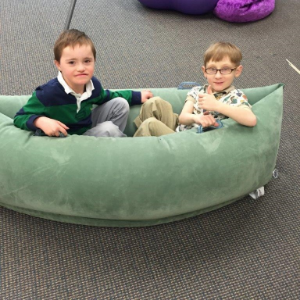 "The pea pod is for ""squeezing"" or ""hugging"" a student for calming and feeling safe."