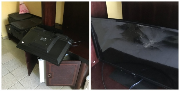 Lukis says he accidentally grabbed the TV when he was leaning to get something out of the mini fridge. He accepted responsibility for the damage and was charged more than $5,000 CAD.(Submitted by Dan Lukis)