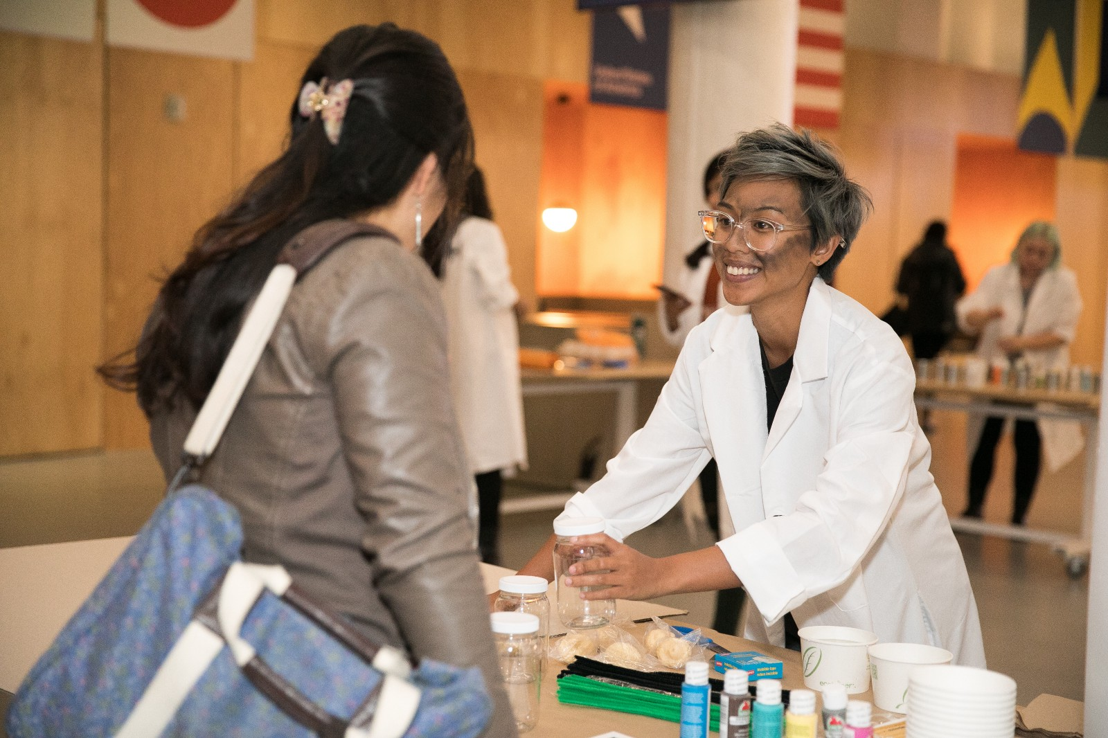 Pinterest employee Evelyn Obamas led four stations for volunteers to make help make carnival games for SOMA Youth Collaborative's Halloween carnival.