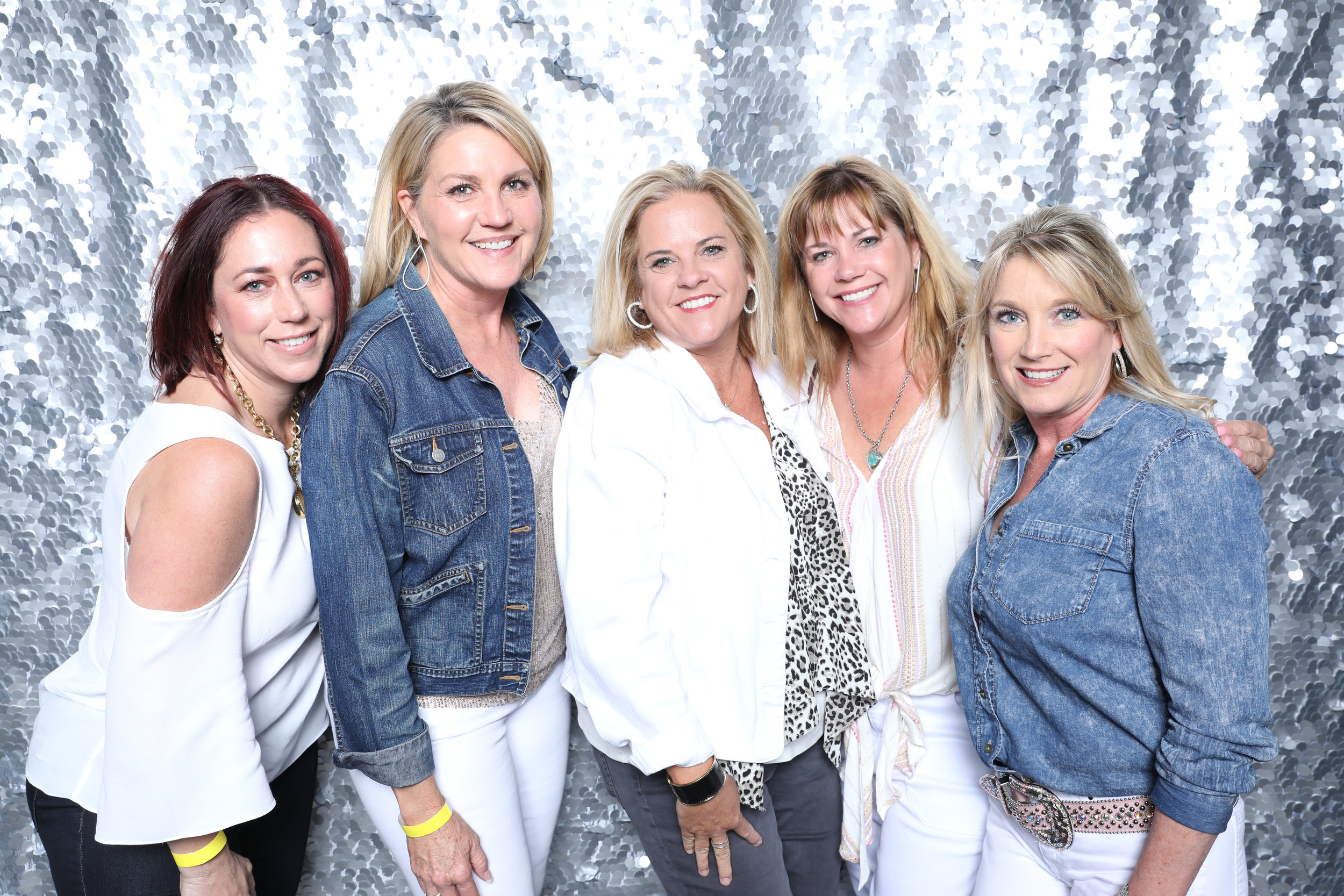 Open Air Photo Booth Scottsdale with Silver Sequin Backdrop