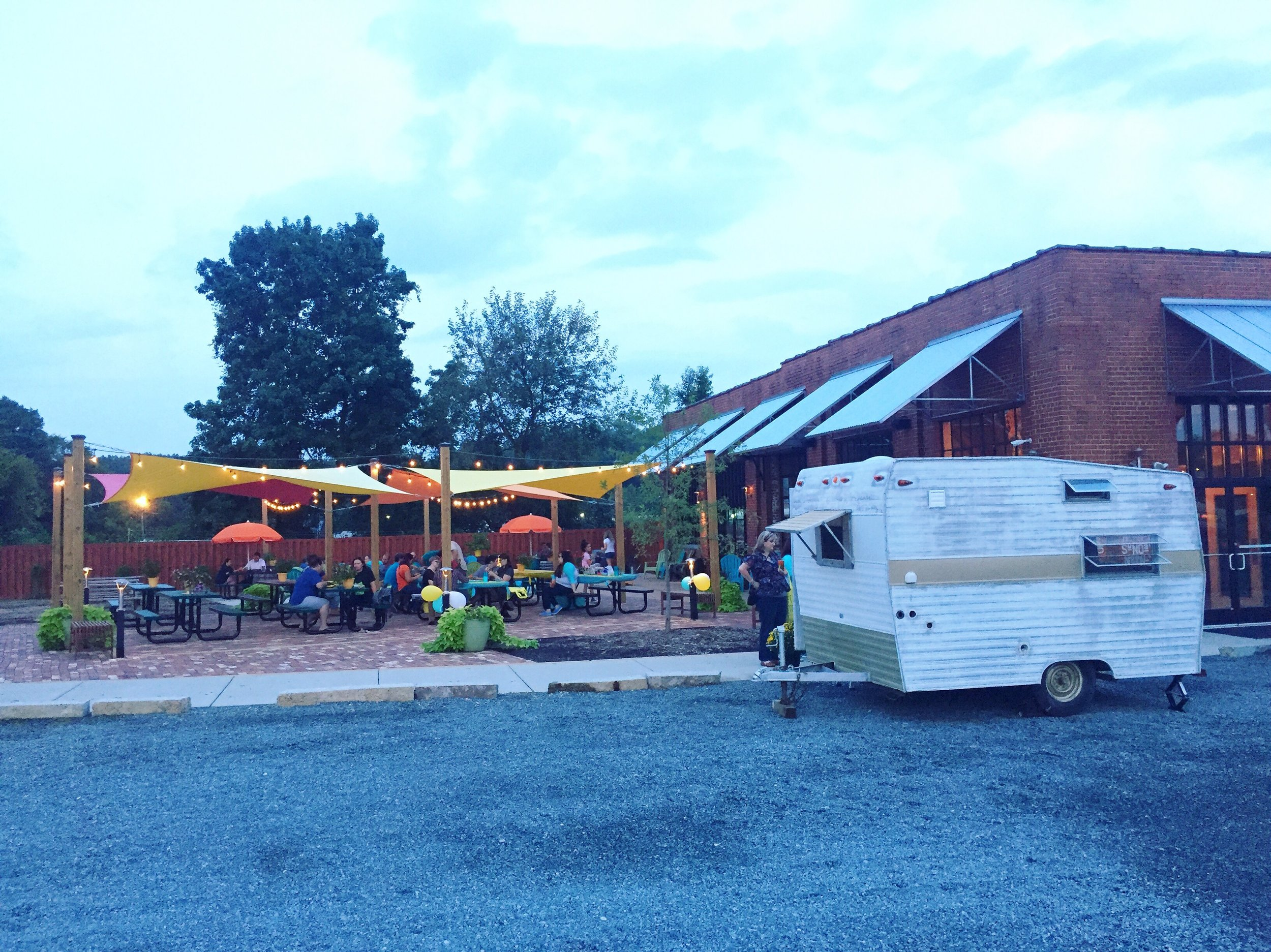 The guest of honor, a 1968 Shasta Camper, at Noda Brewing.