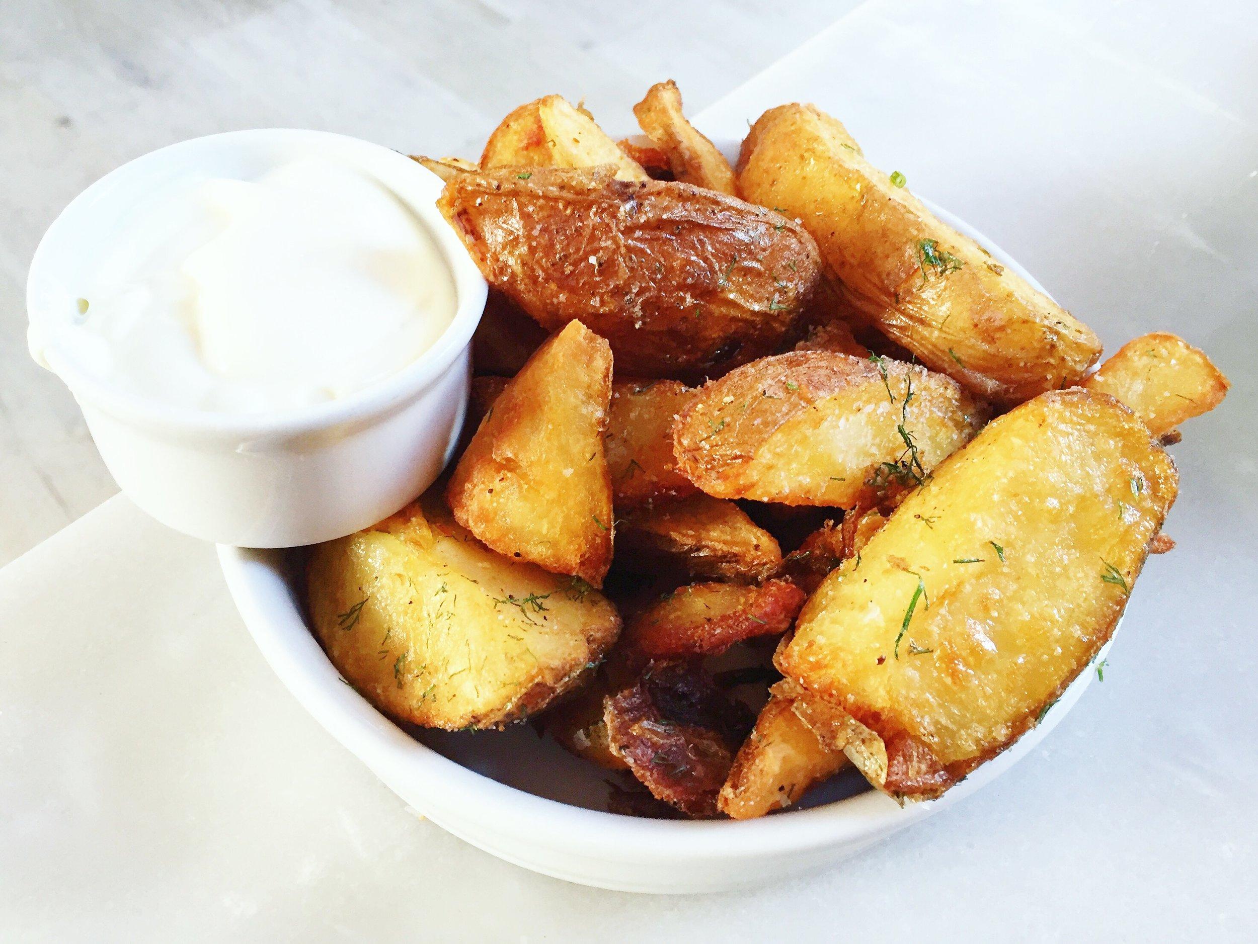 Duck Fat Potatoes: dill,lemon aoili. | Kindred