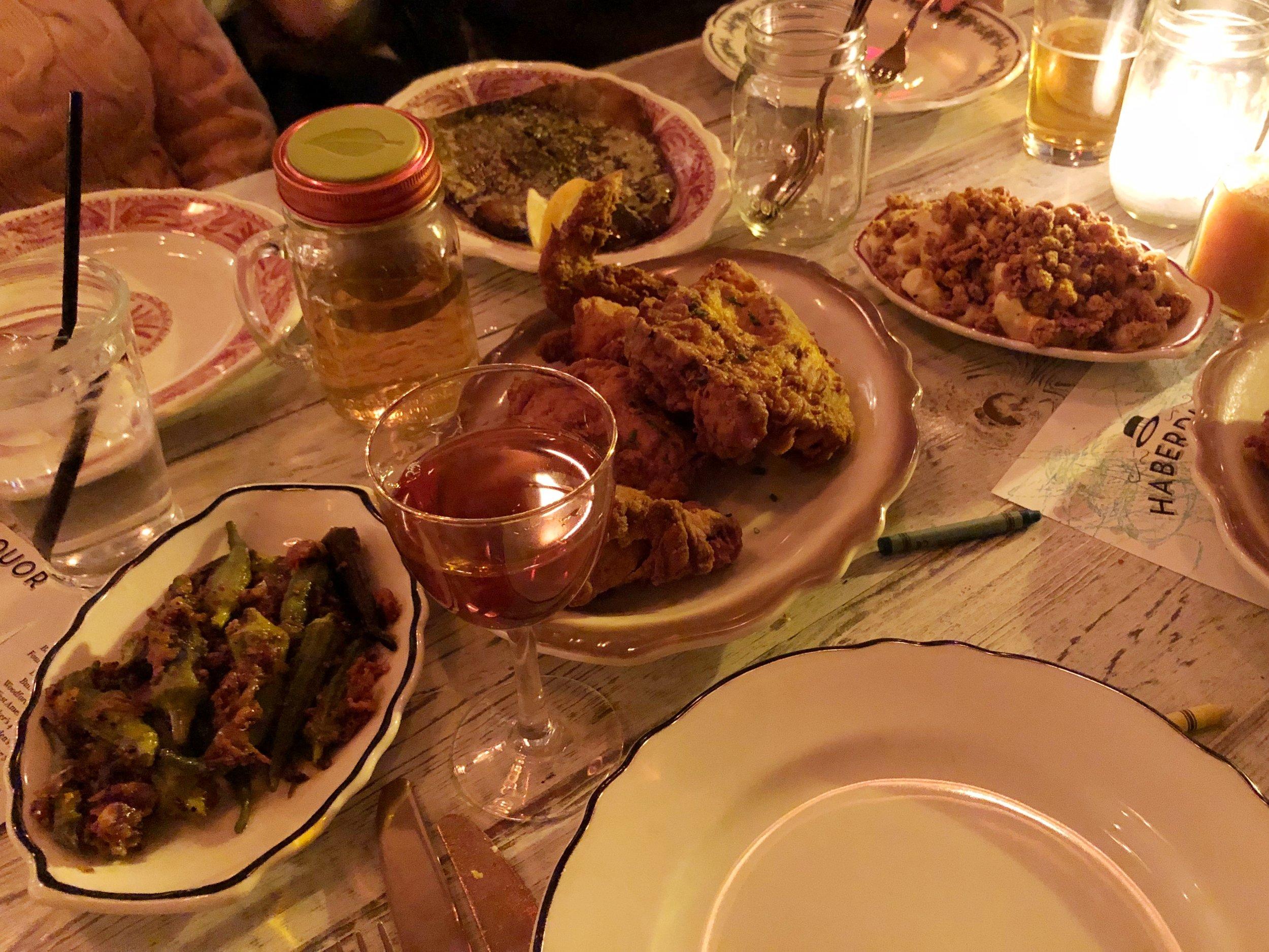 Okra, Fried Chicken, Trout, Mac & Cheese