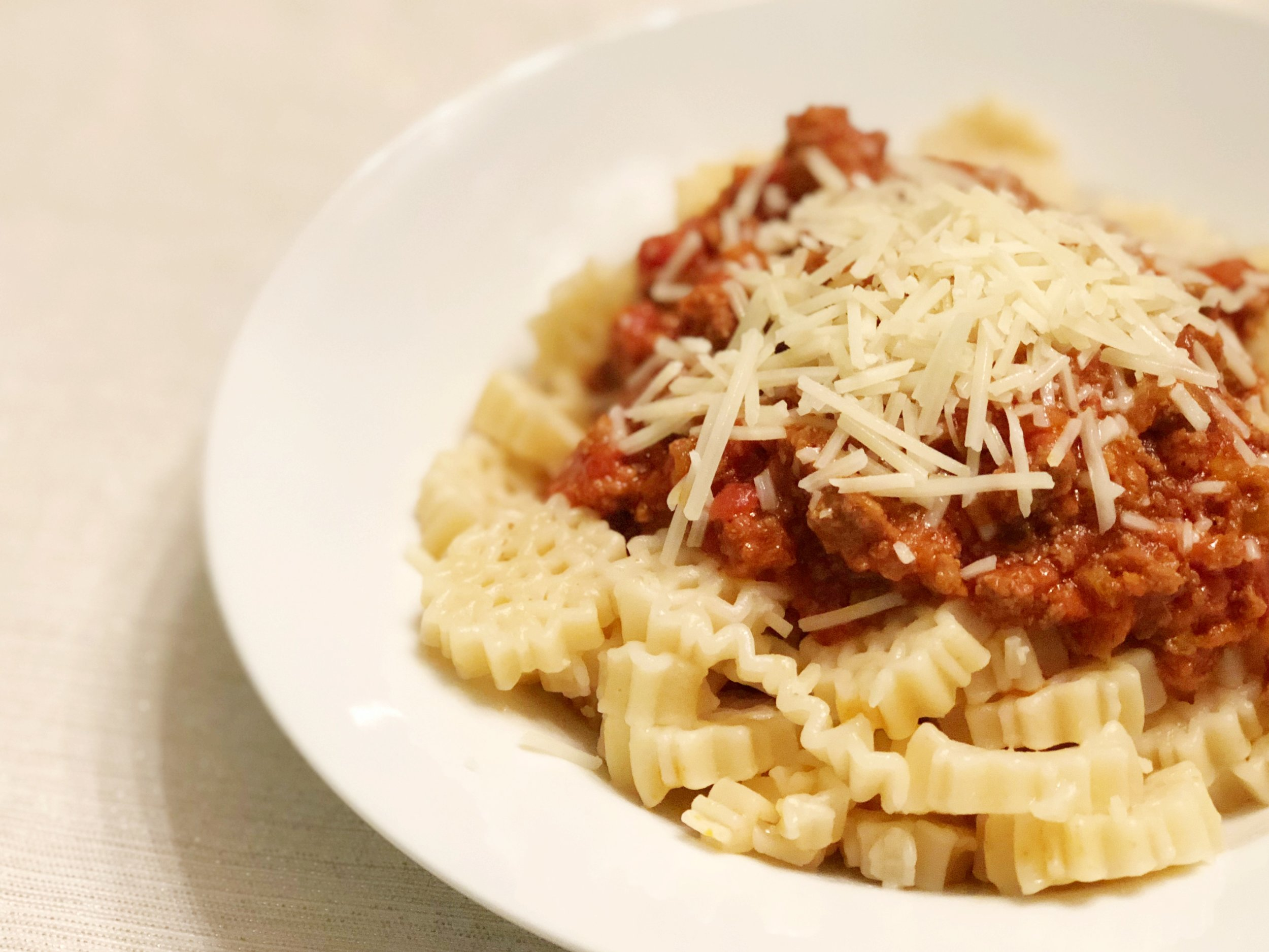 bolognese-sauce-on-snowflake-pasta-from-trader-joes