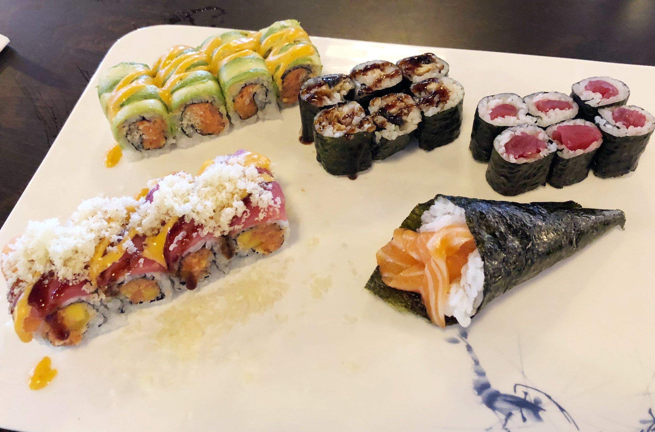 Phoenix Roll, Tiger Roll, Eel Roll, Tuna Roll, Spicy Salmon Hand Roll