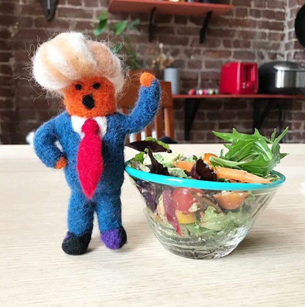 Little Trump is mad because I'm trying to make him eat his salad and not a cheeseburger.  Kids don't be like Trump and eat your salad.