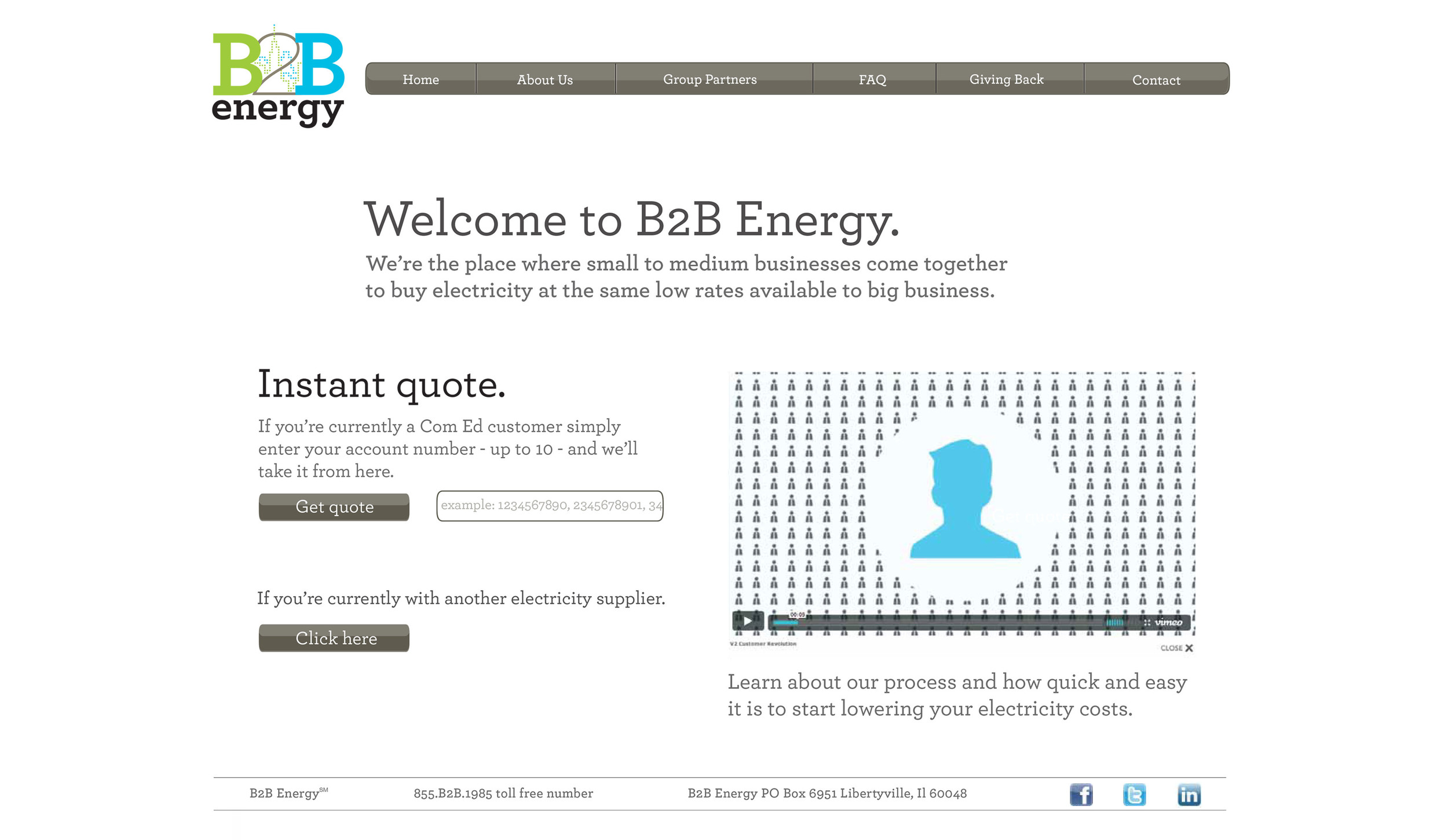 B2B Energy - Website Sign Up Page