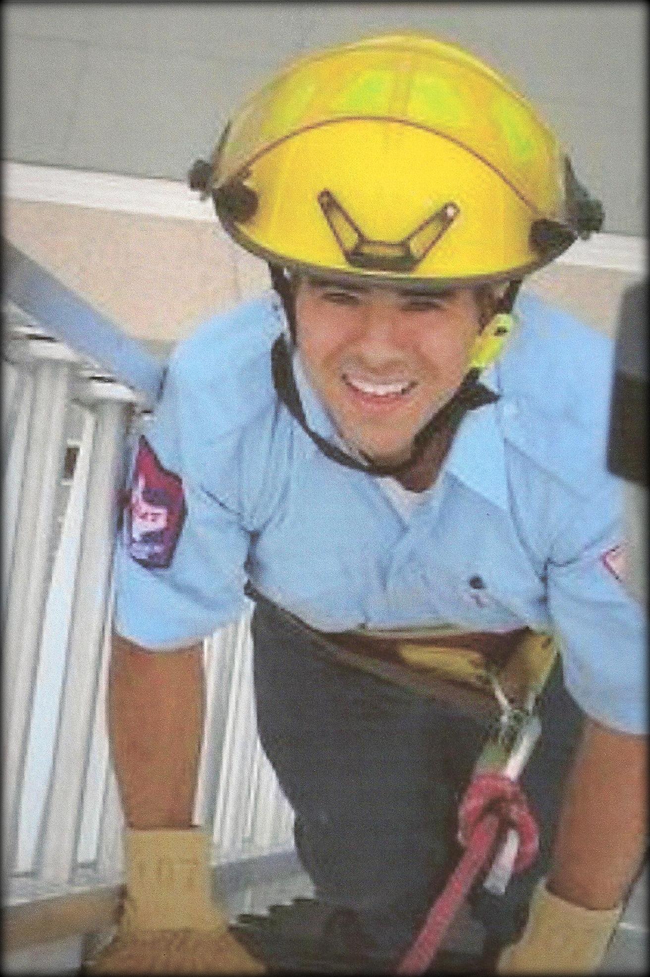 Bill on a fire ladder.