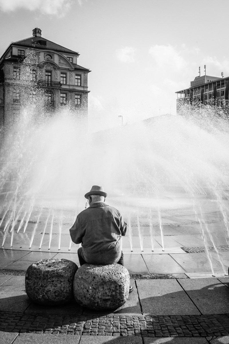 Old Man at Fountain, Munich, Germany