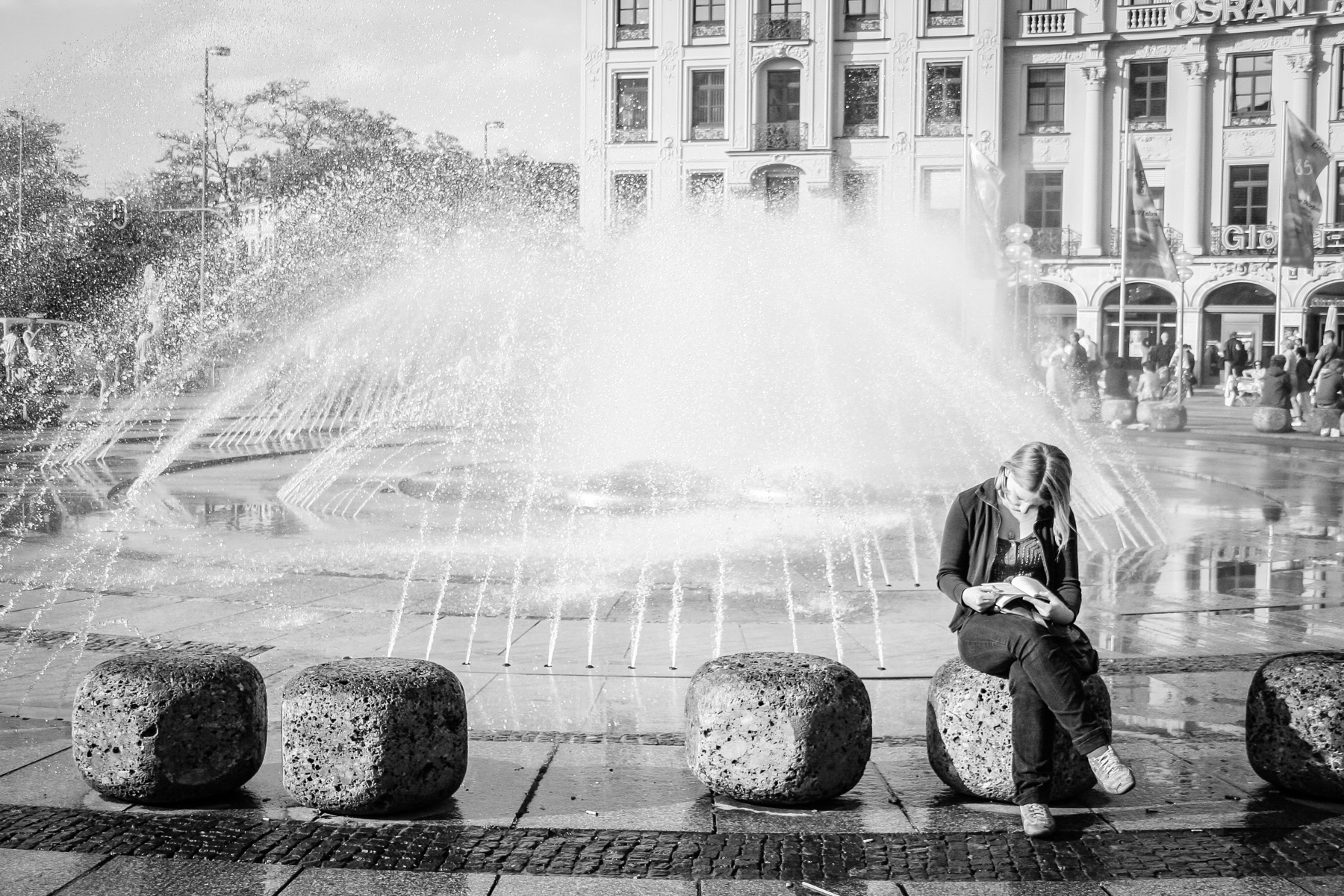 Young Woman at Fountain, Munich, Germany