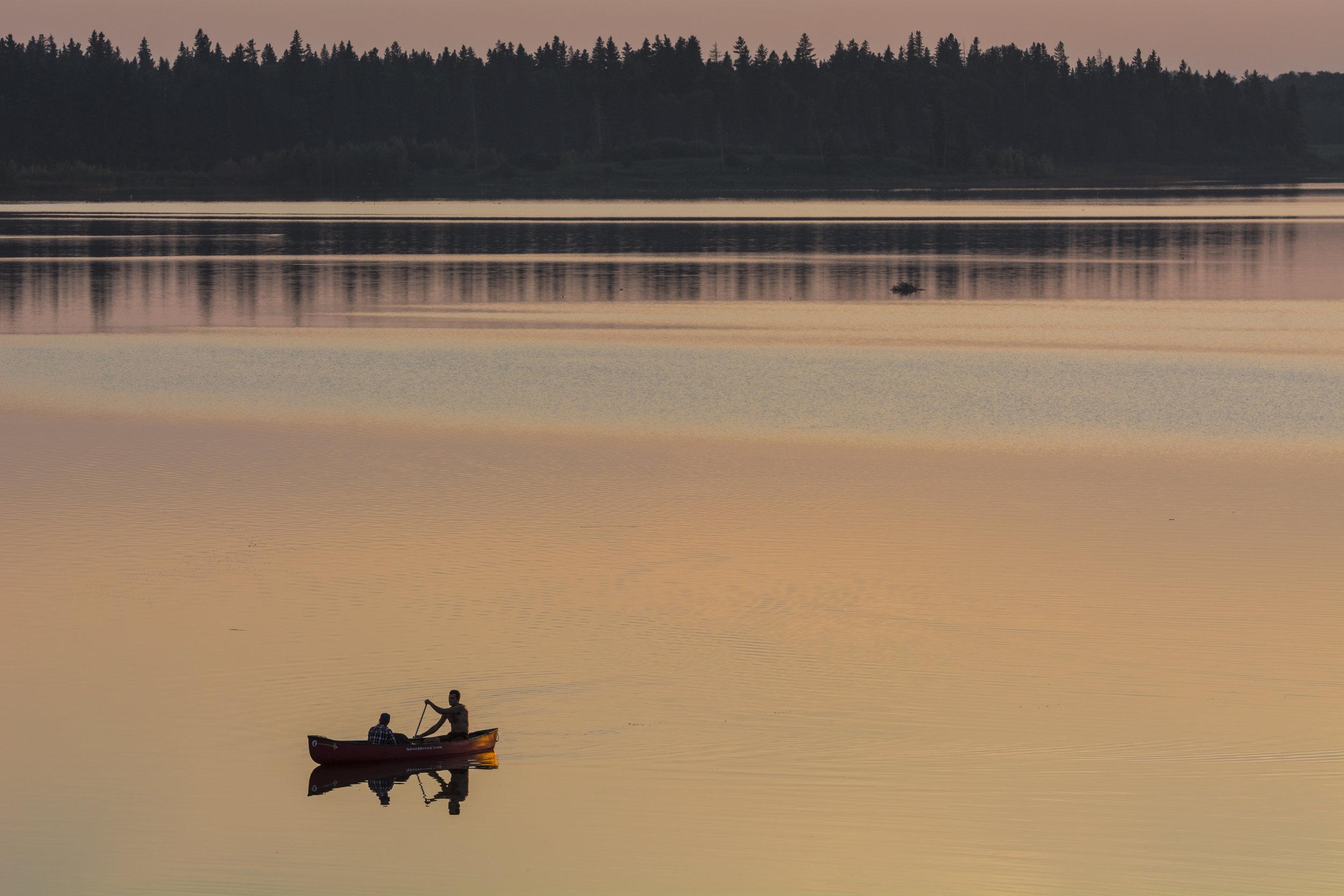 Canoe and Sunset at Astotin Lake, Elk Island, National Park, Alberta, Canada