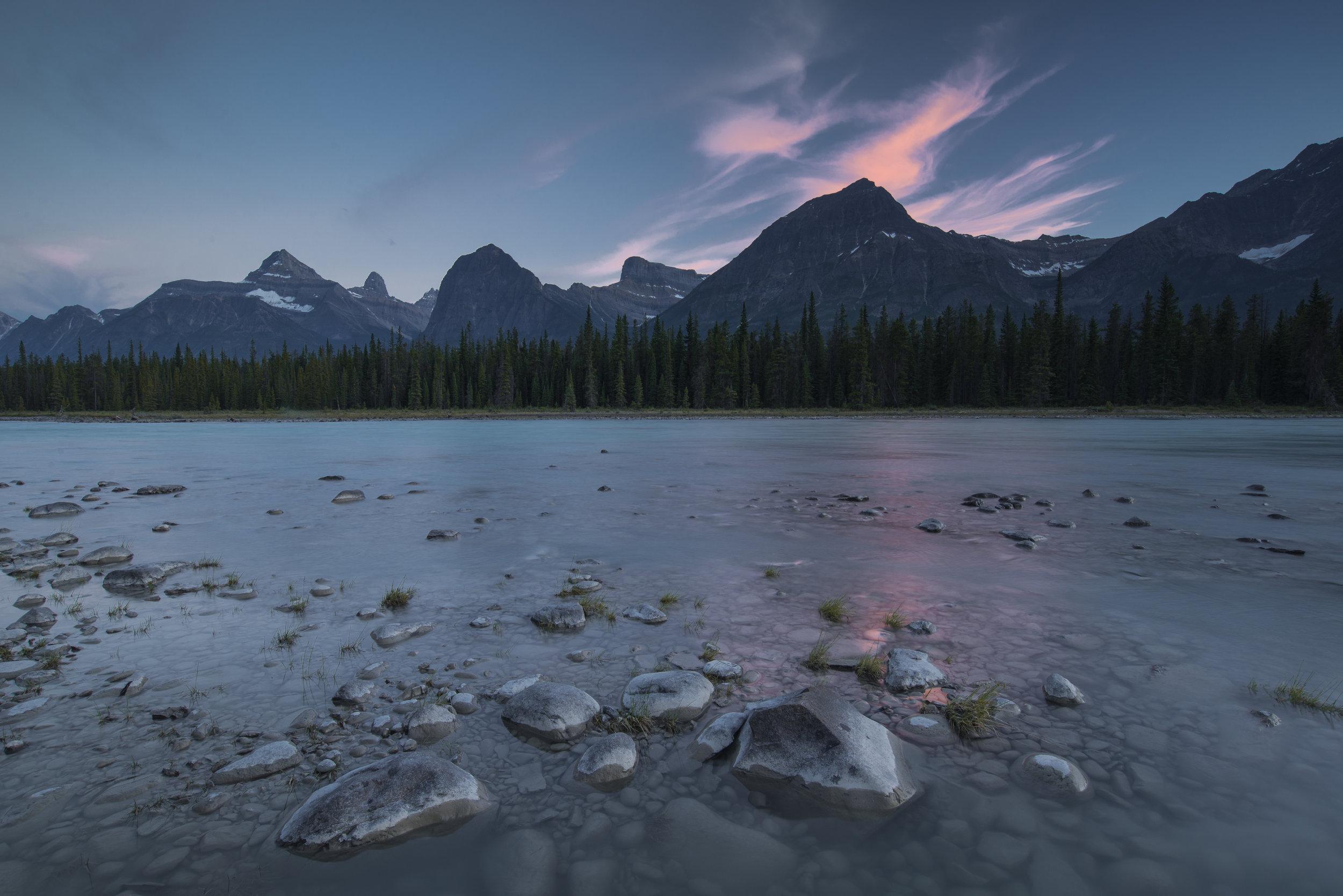 Sunset over Athabasca River, Jasper National Park