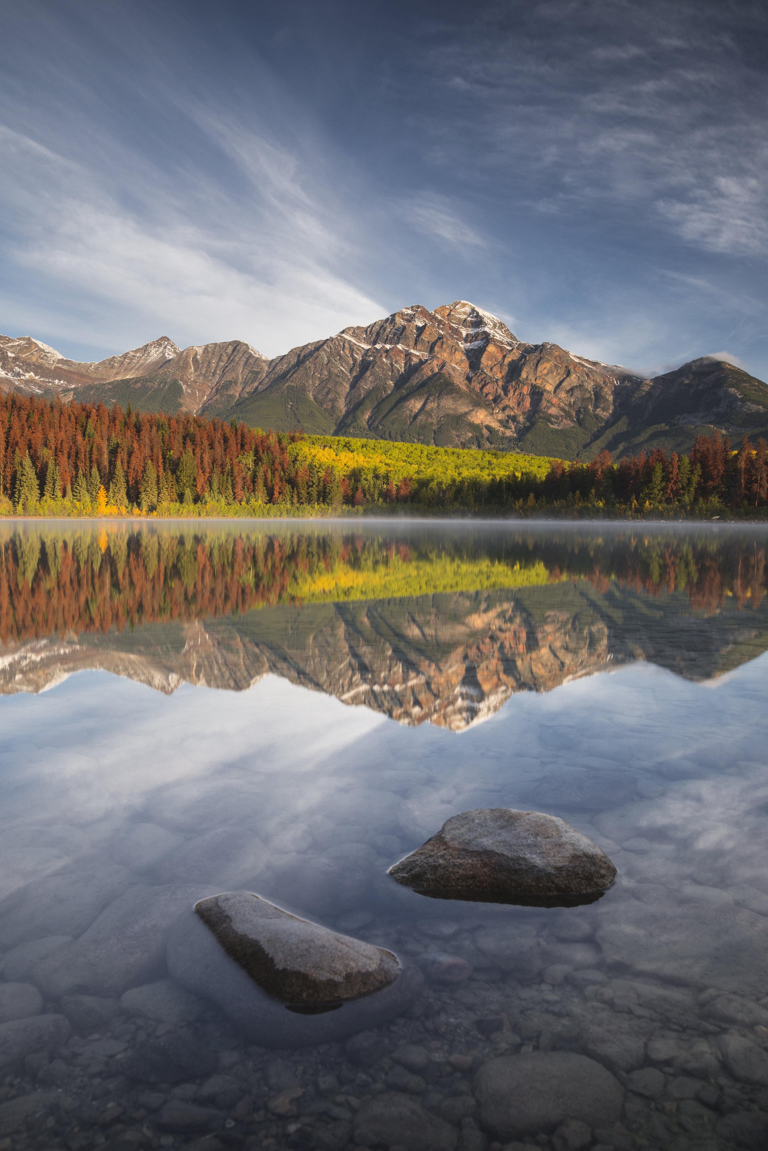 Pyramid Mountain reflected in Patricia Lake, Jasper, Alberta