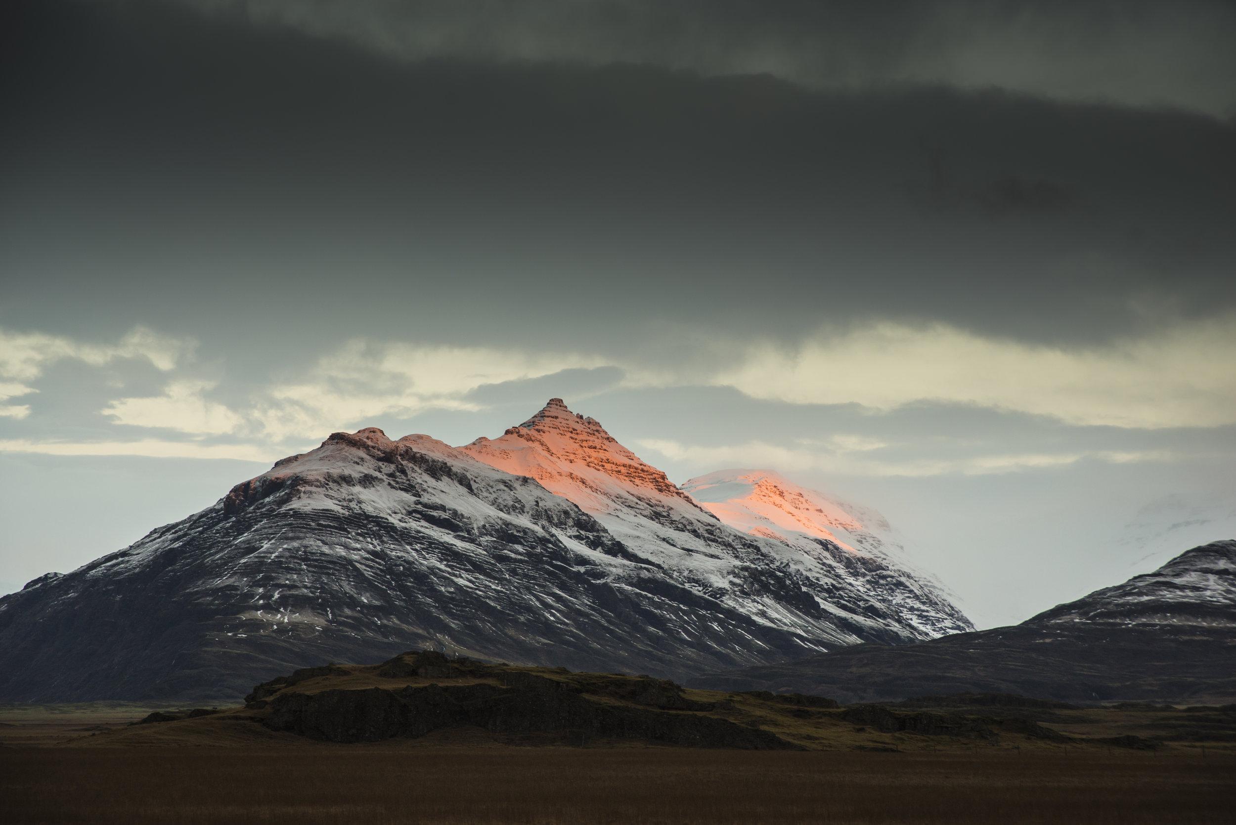 Sunrise on mountains, East Iceland