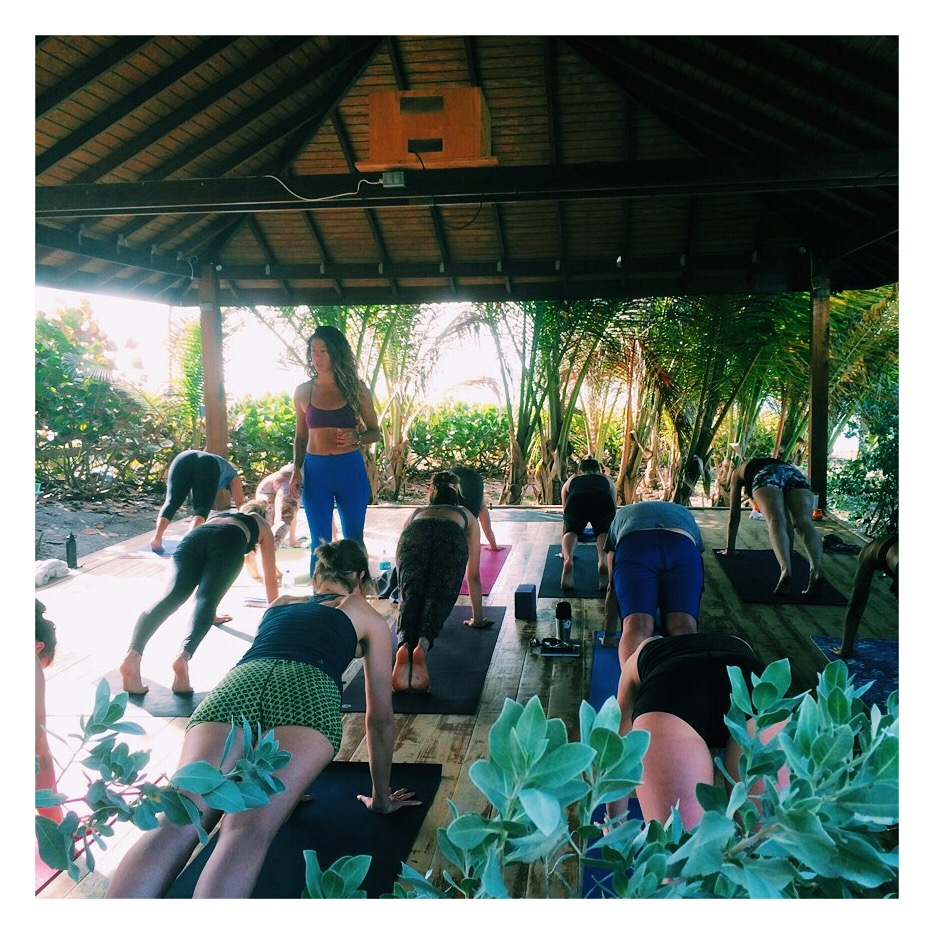 Me teaching yoga at the beautiful Shala at Ocean Spray, where we practiced yoga and meditation daily.