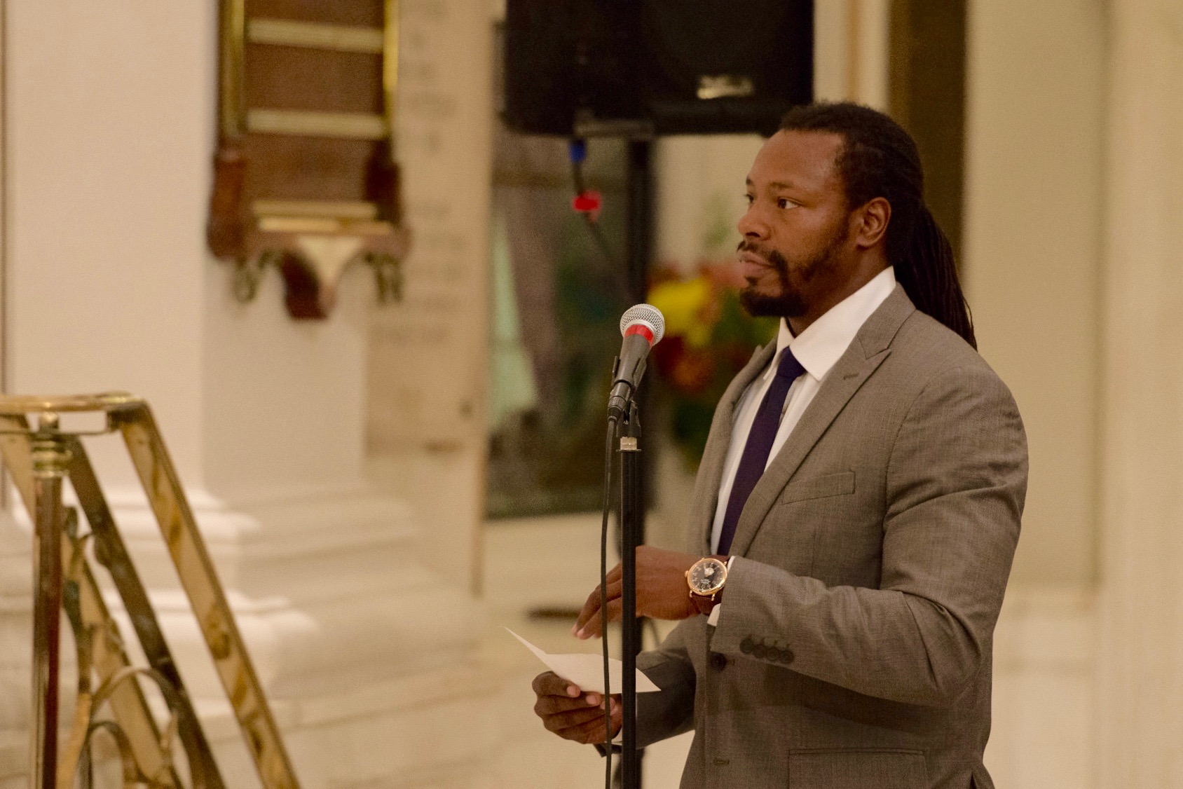 Richmond Justice interviewee  Nic Braswell , a criminal defense attorney, asked candidates how they would support struggling communities in Richmond where rates of incarceration among young people are exceptionally high. (Photo by Matt Cowan for Richmond Justice)