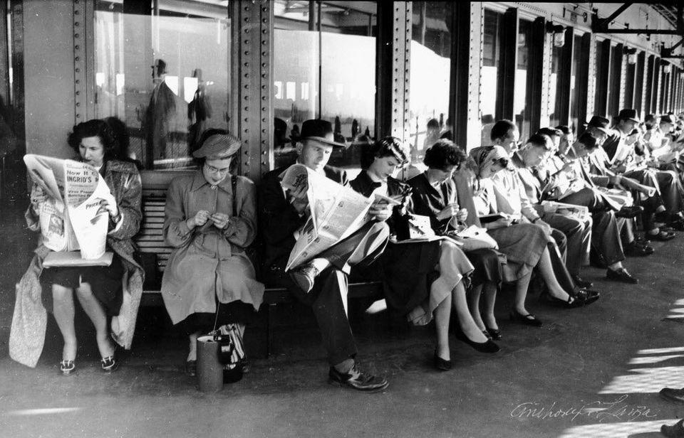 Пассажиры парома Стейтен-Айленд Ферри, 1940 год. Нью-Йорк