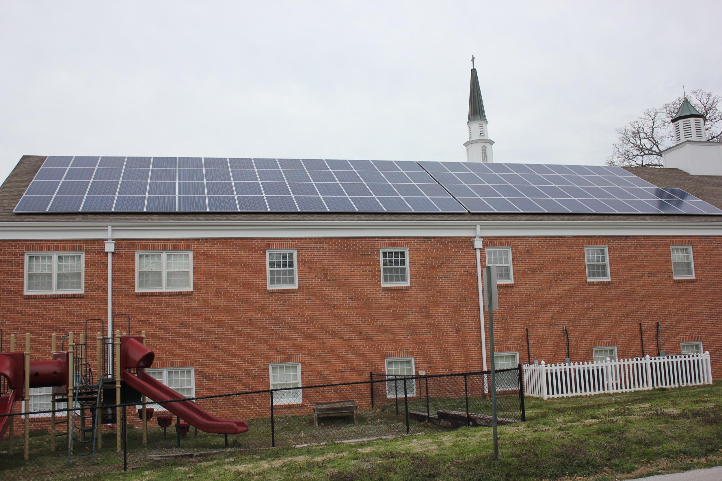 Solar array on a church © 2015 Cromwell Environmental