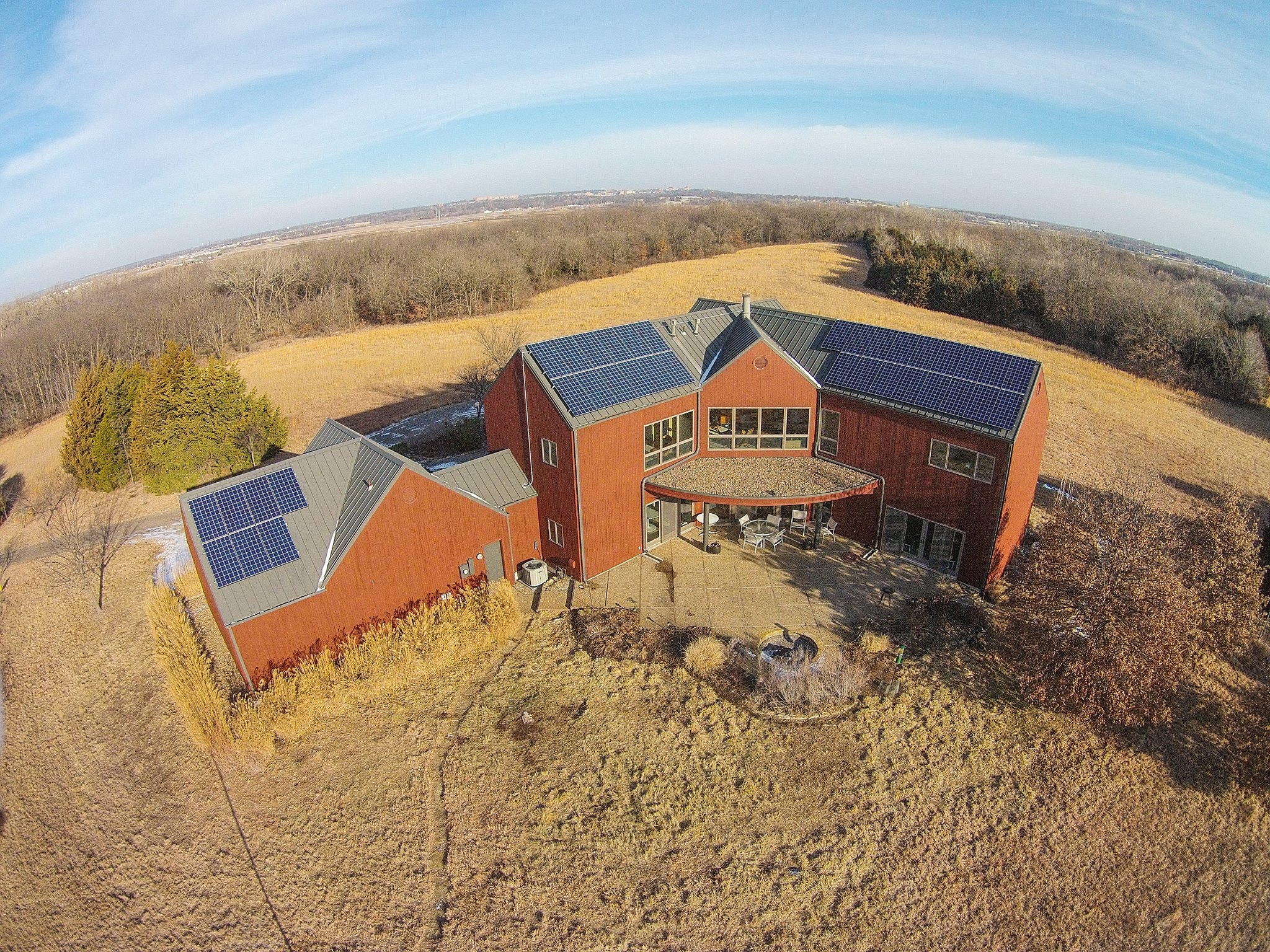 This large residential solar system spans three roof sections.
