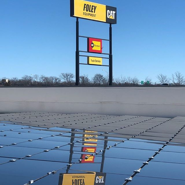 A sunny day is a good time to reflect upon the value of our partners and commercial solar customers like @foleyequipment In Kansas City. Our crew is busy wrapping up this 172 kW project featuring Cat Solar modules. You too can mirror Foley's commitment to clean energy and lower utility bills by contacting us! #mosolar #catsolarpower #foleyequipment #foleyequipmentrental #caterpillarsolar