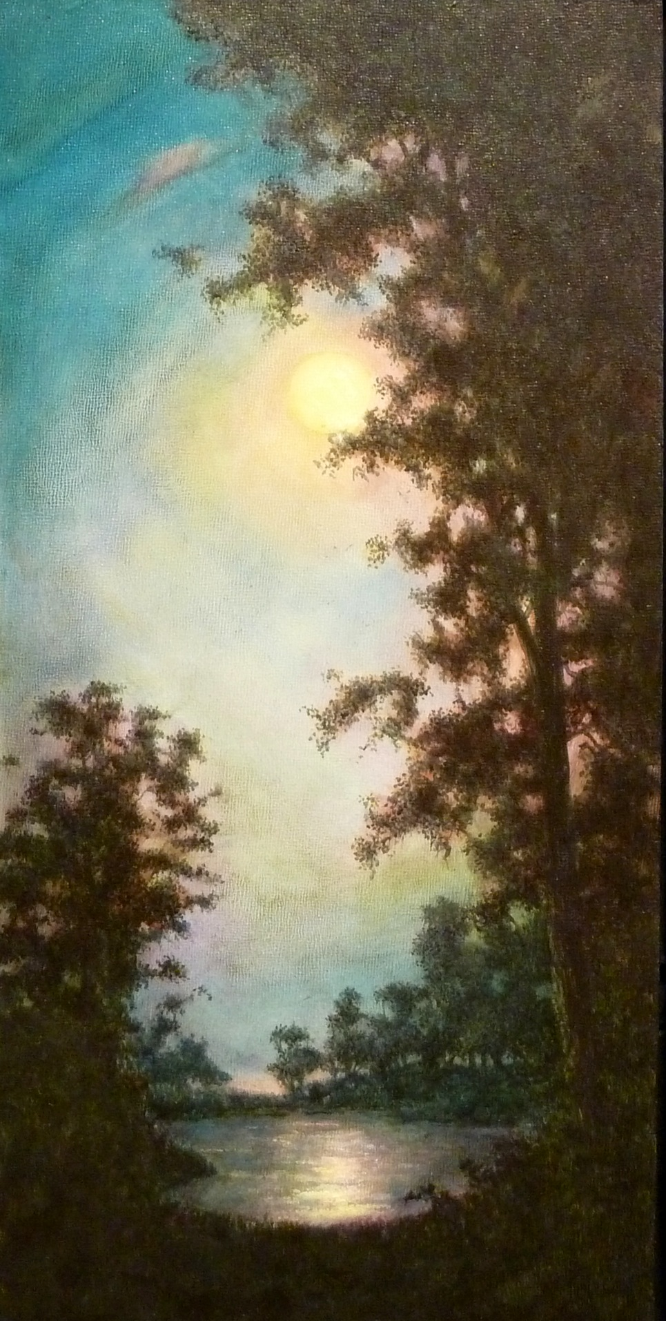 Full Moon Over Story Lake Montana - SOLD